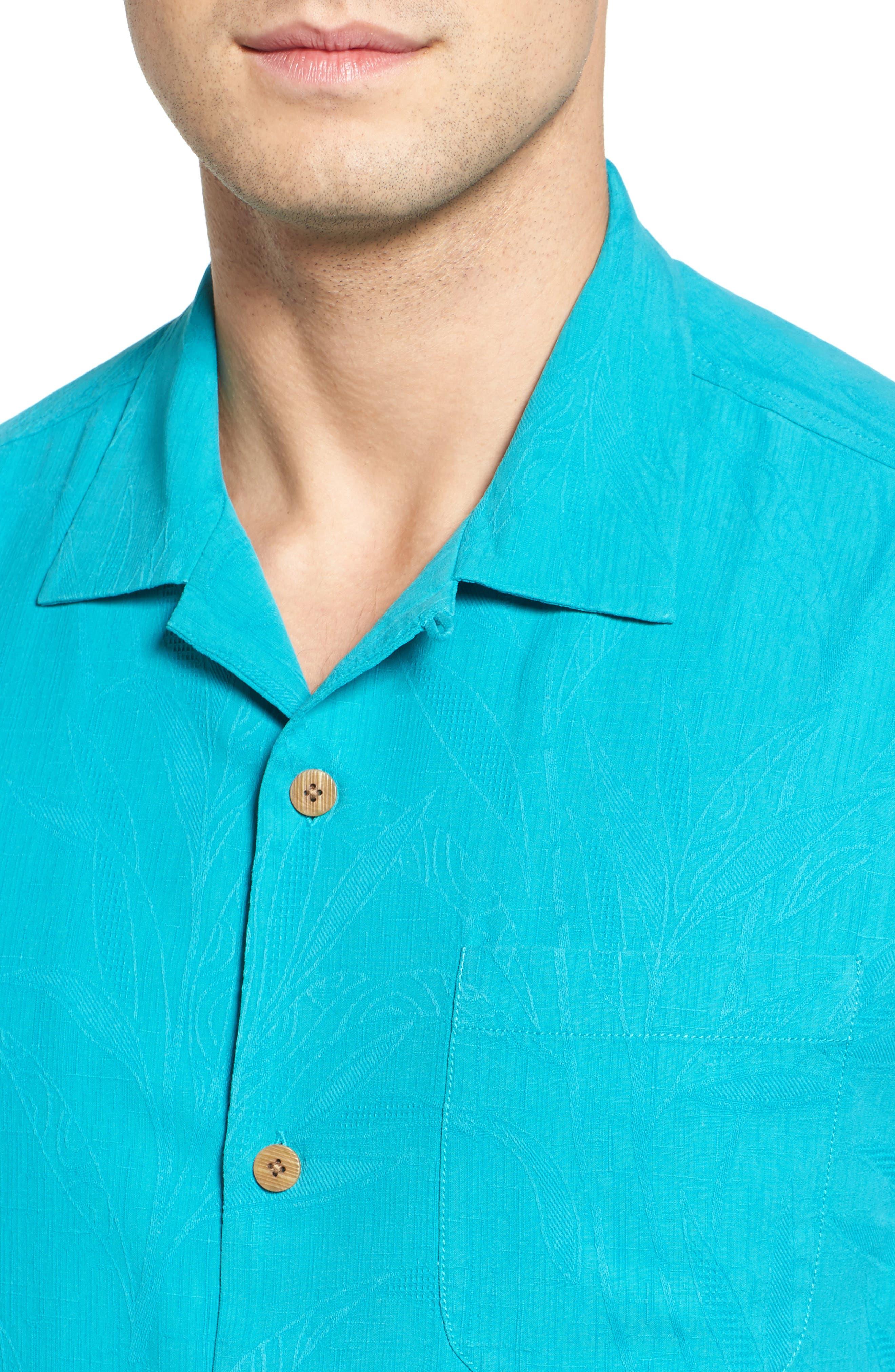Islander Fronds Silk Camp Shirt,                             Alternate thumbnail 33, color,