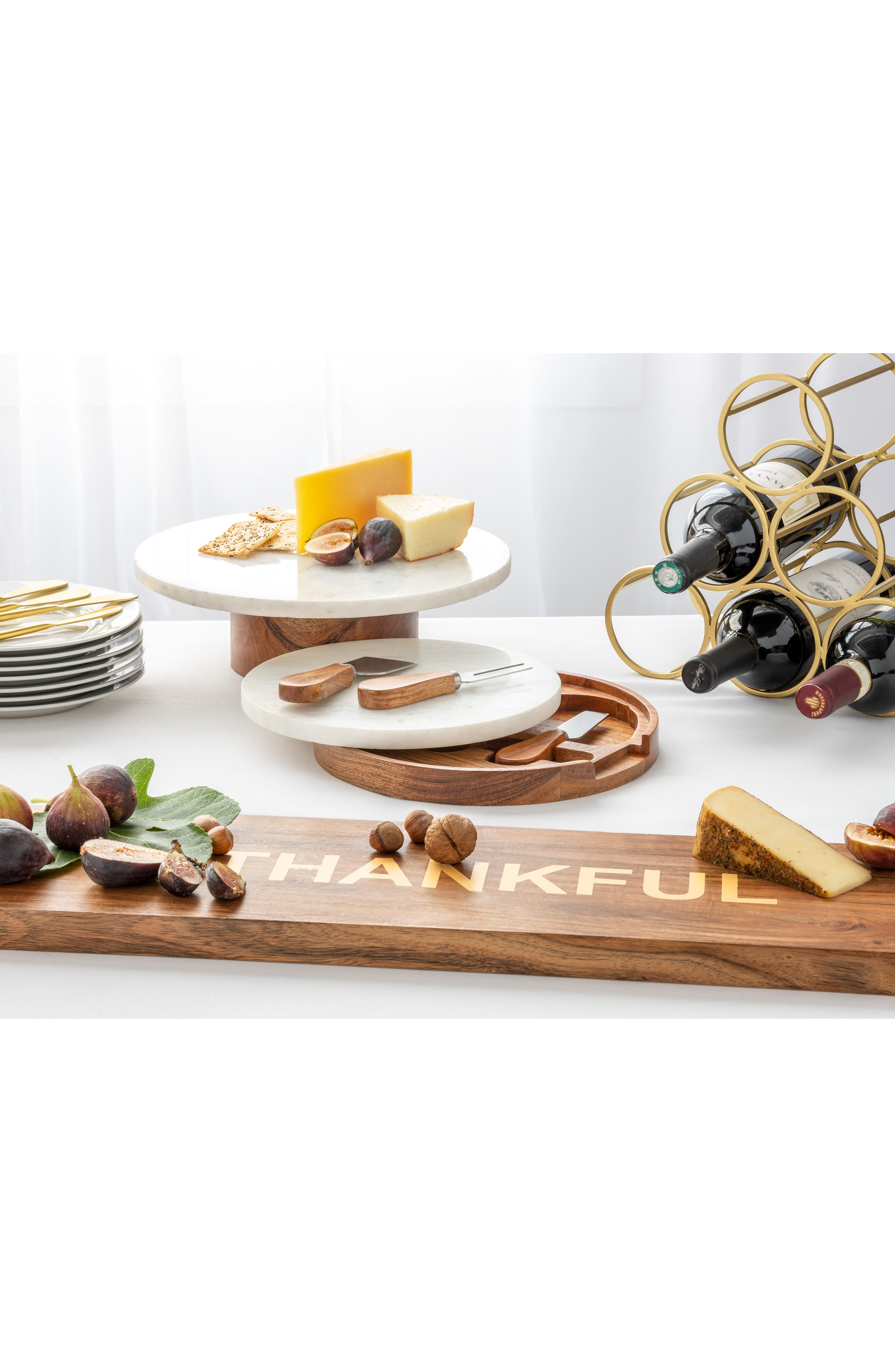 Marble Topped Cheese Board & Cheese Knives,                             Alternate thumbnail 2, color,                             BROWN