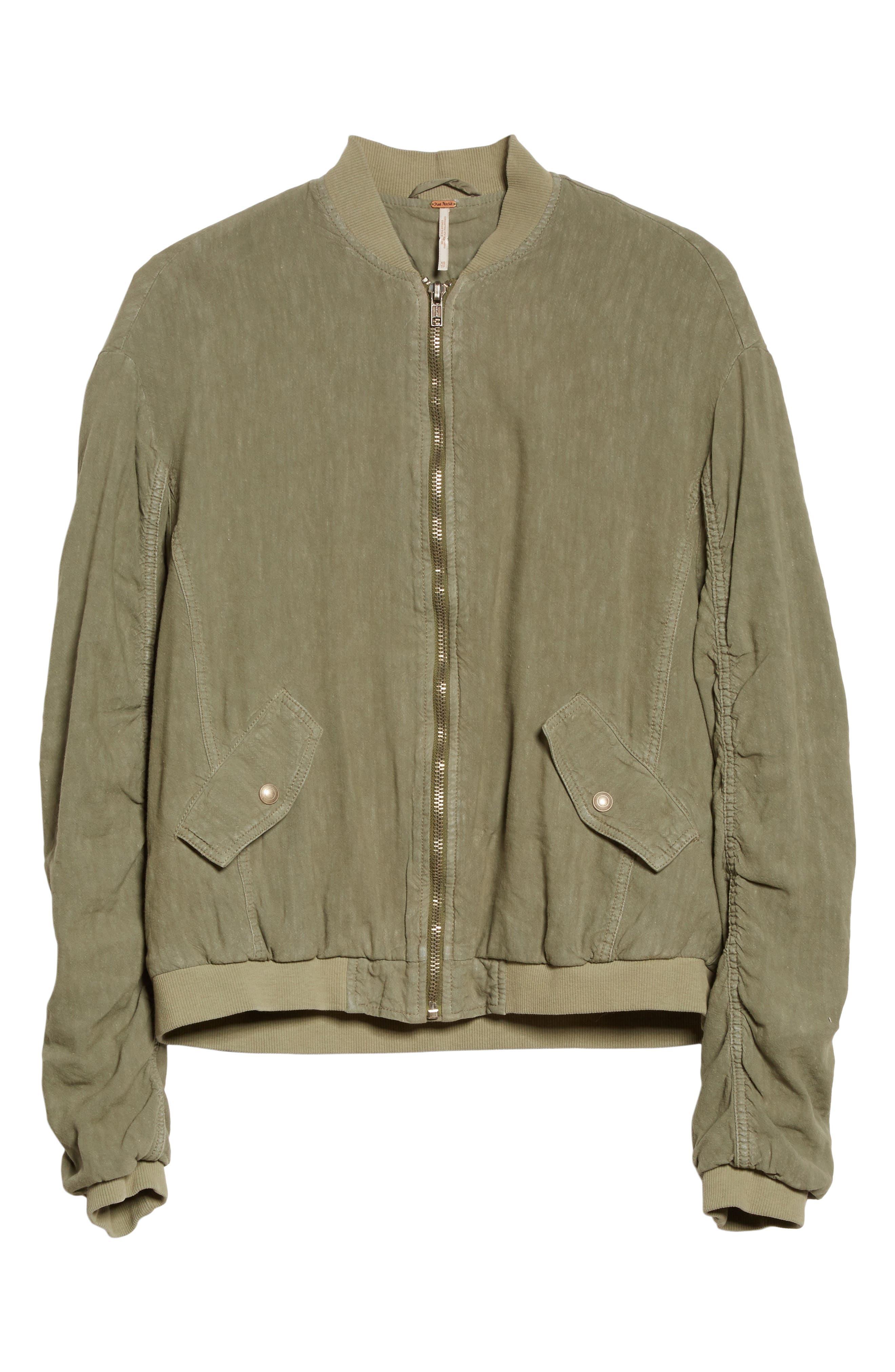 Ruched Linen Bomber Jacket,                             Alternate thumbnail 5, color,                             300