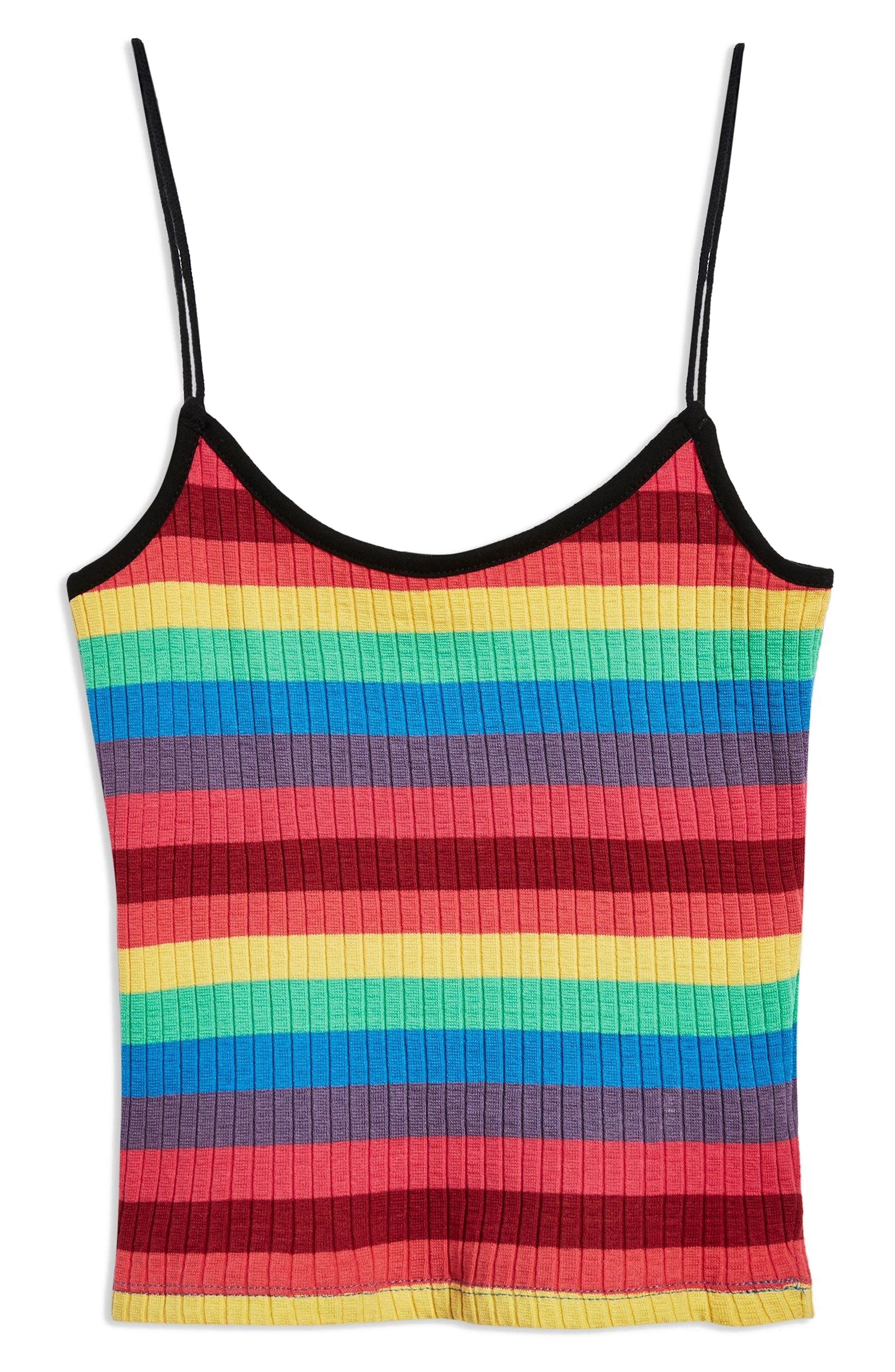 Rainbow Stripe Camisole Top,                             Alternate thumbnail 2, color,                             RED MULTI