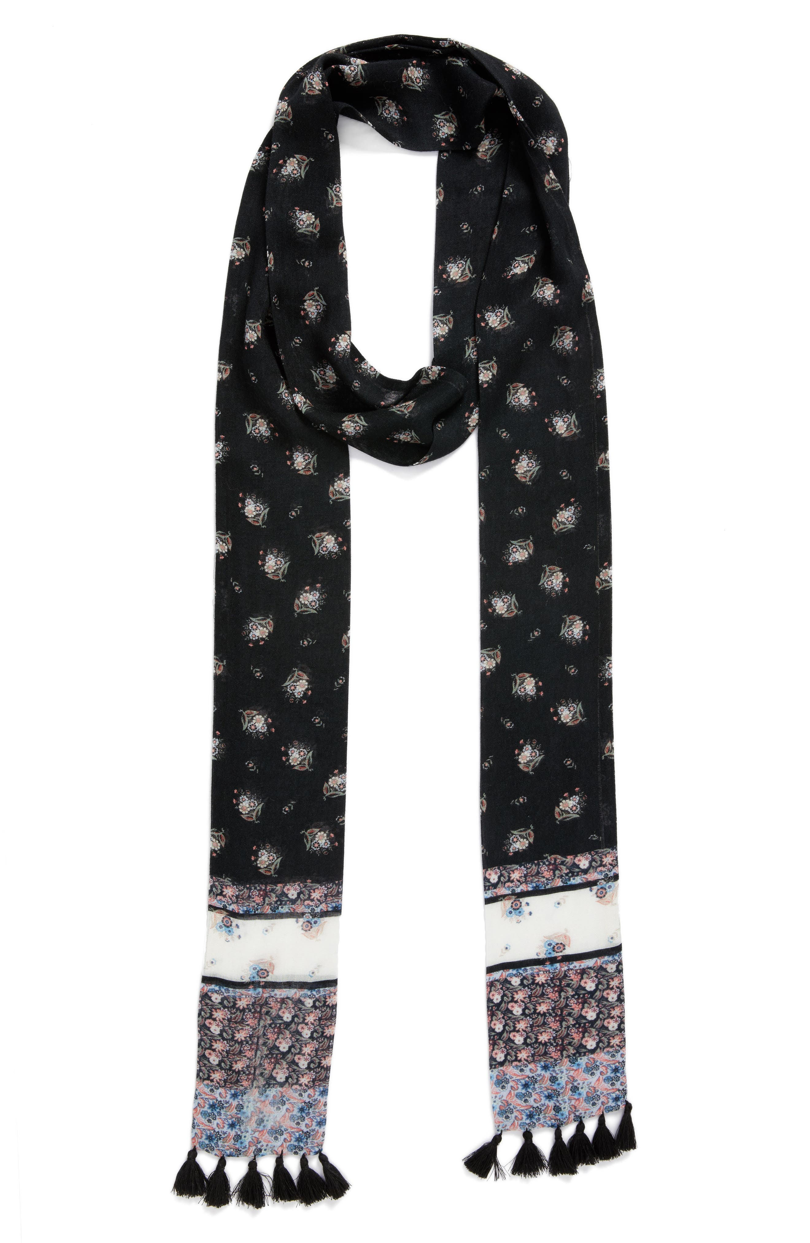 Ditsy Floral Skinny Scarf,                             Alternate thumbnail 2, color,