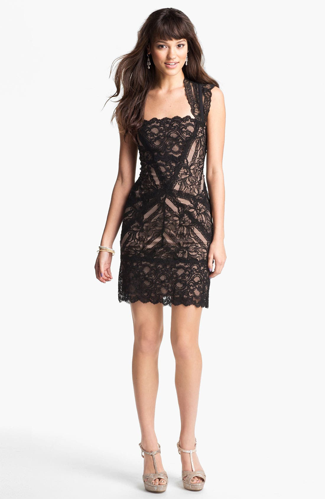 Lace Sheath Dress,                             Alternate thumbnail 2, color,                             001