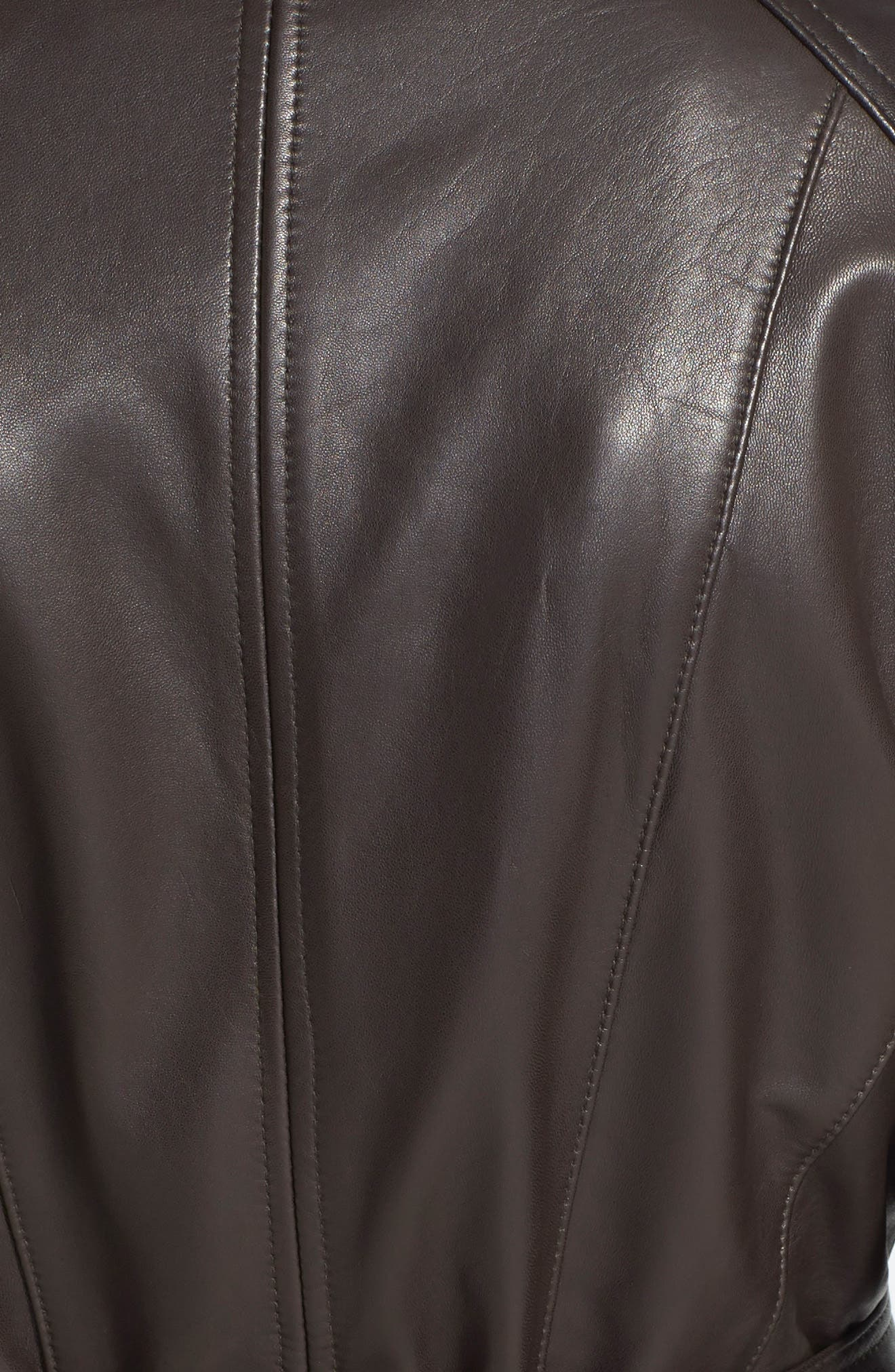 Leather Trench Jacket,                             Alternate thumbnail 6, color,