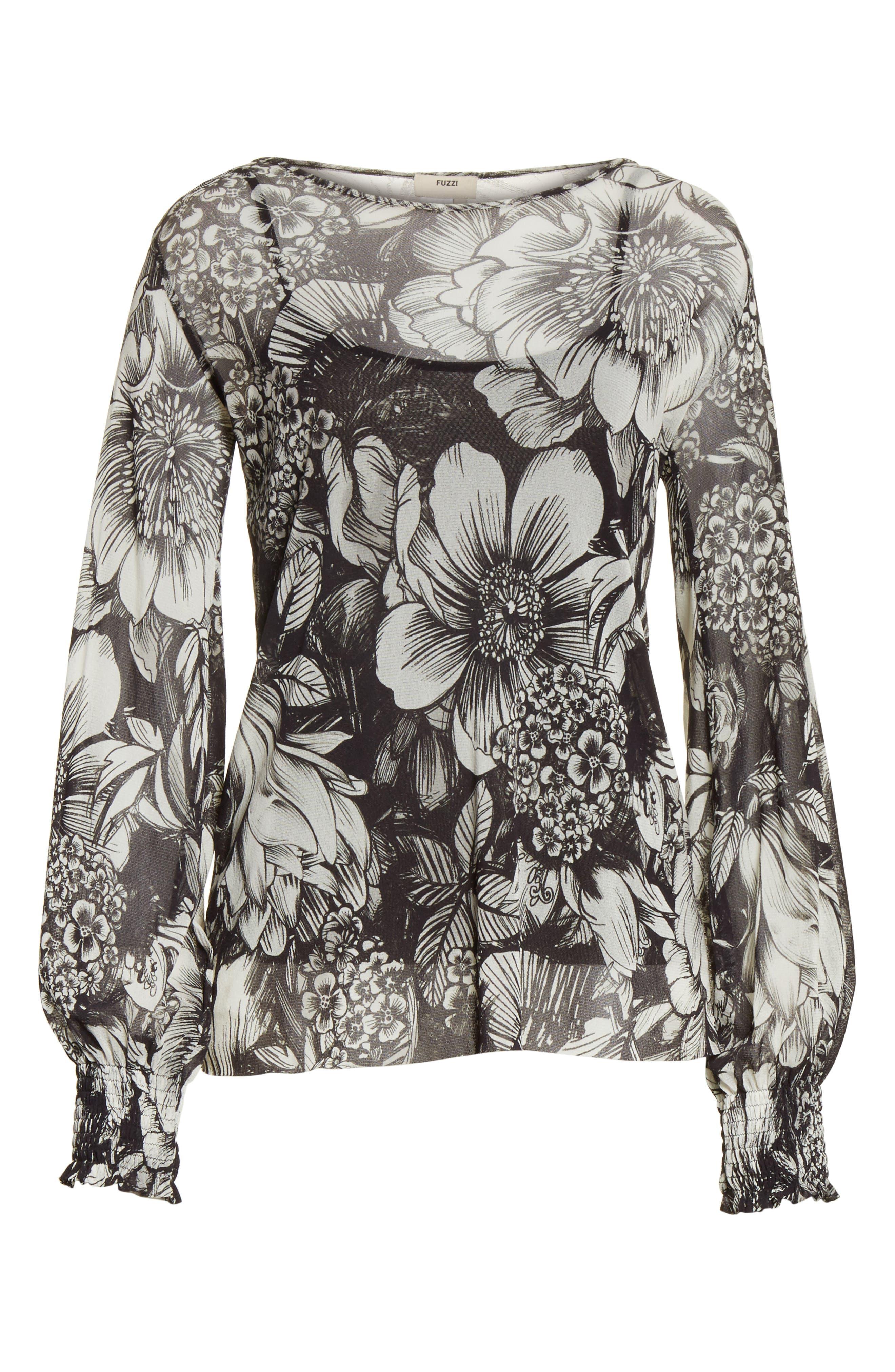 Floral Print Tulle Blouson Top,                             Alternate thumbnail 6, color,                             001