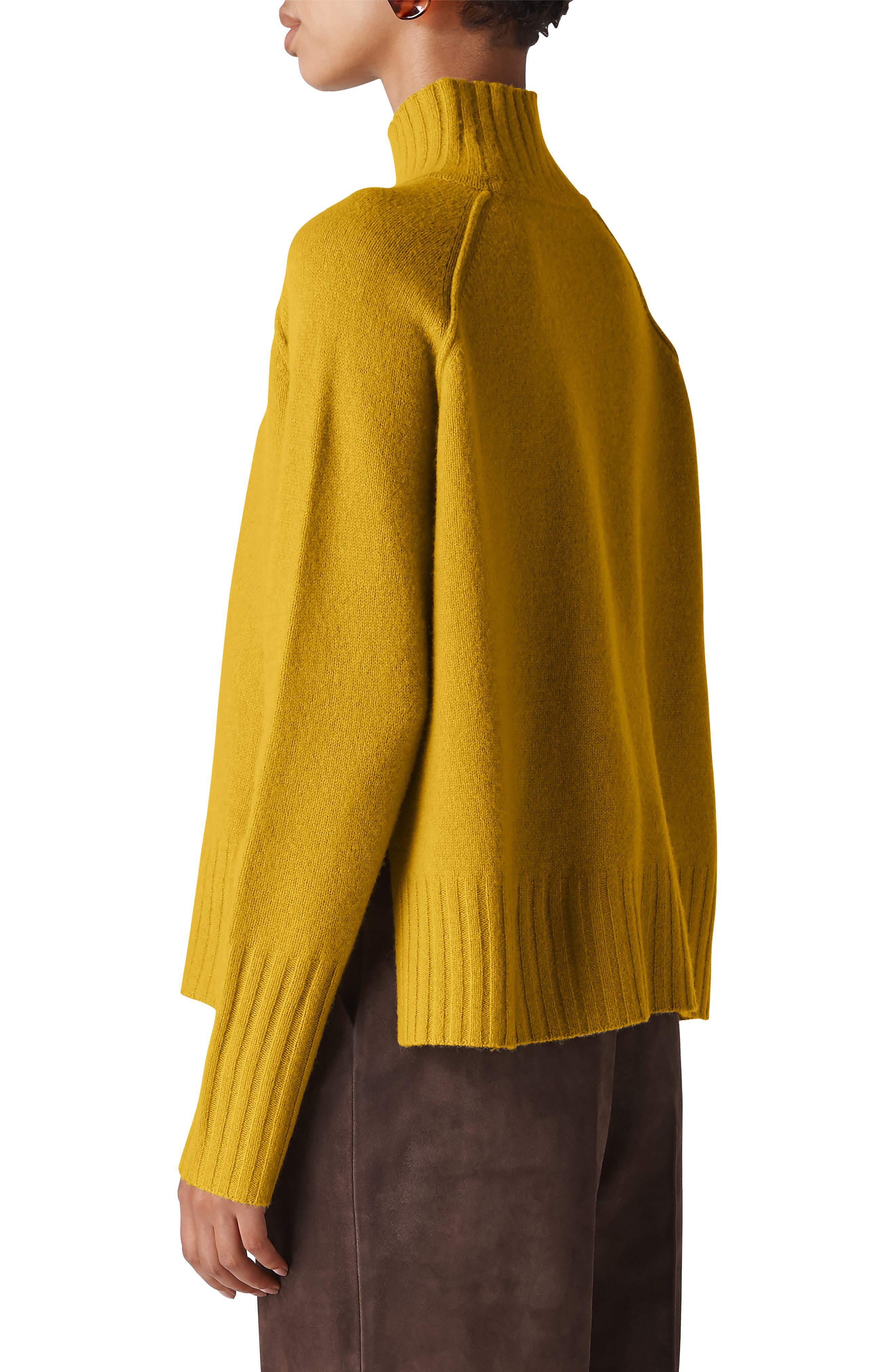 Funnel Neck Merino Wool Sweater,                             Alternate thumbnail 2, color,                             YELLOW