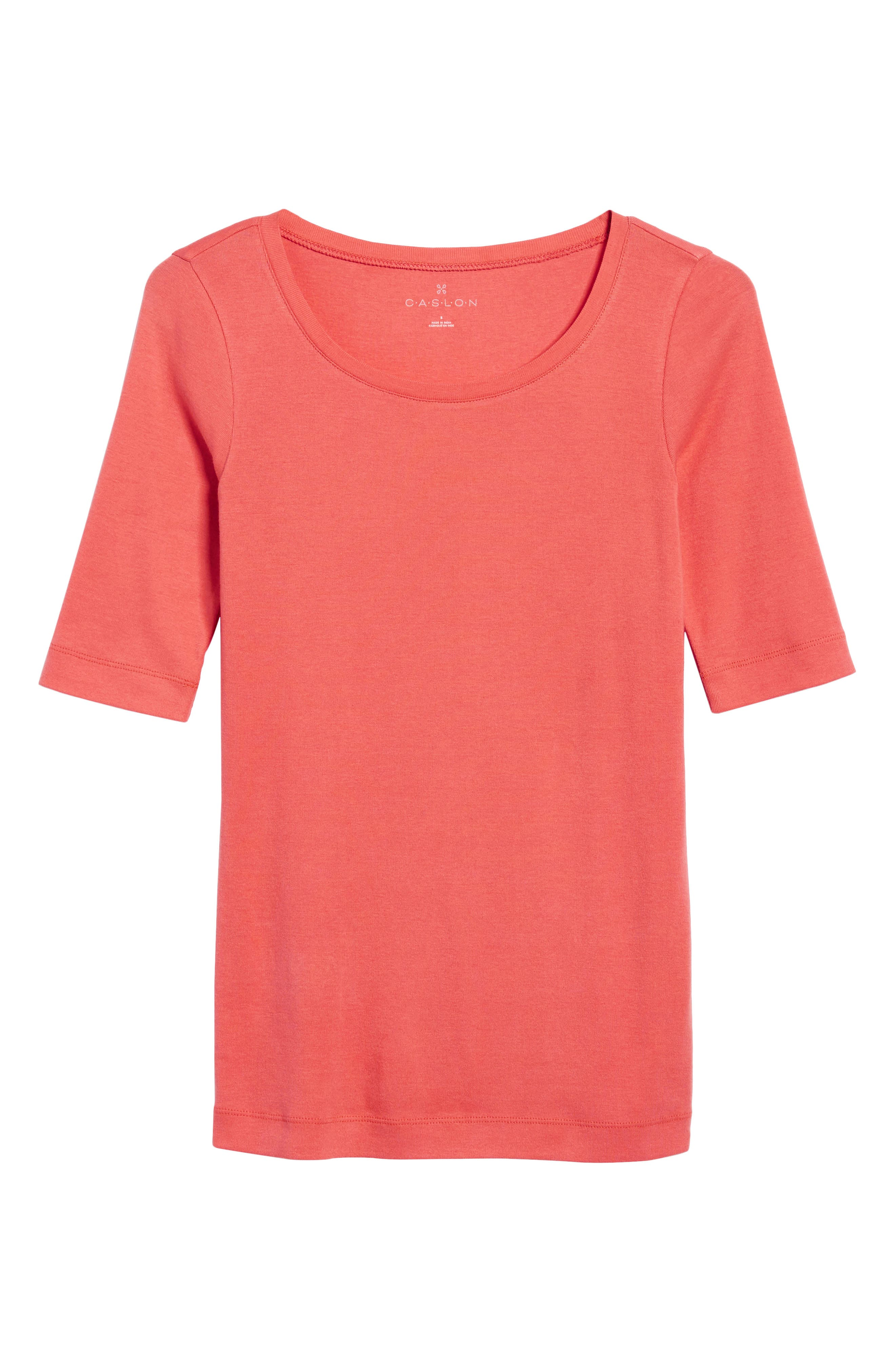 Ballet Neck Cotton & Modal Knit Elbow Sleeve Tee,                             Alternate thumbnail 297, color,