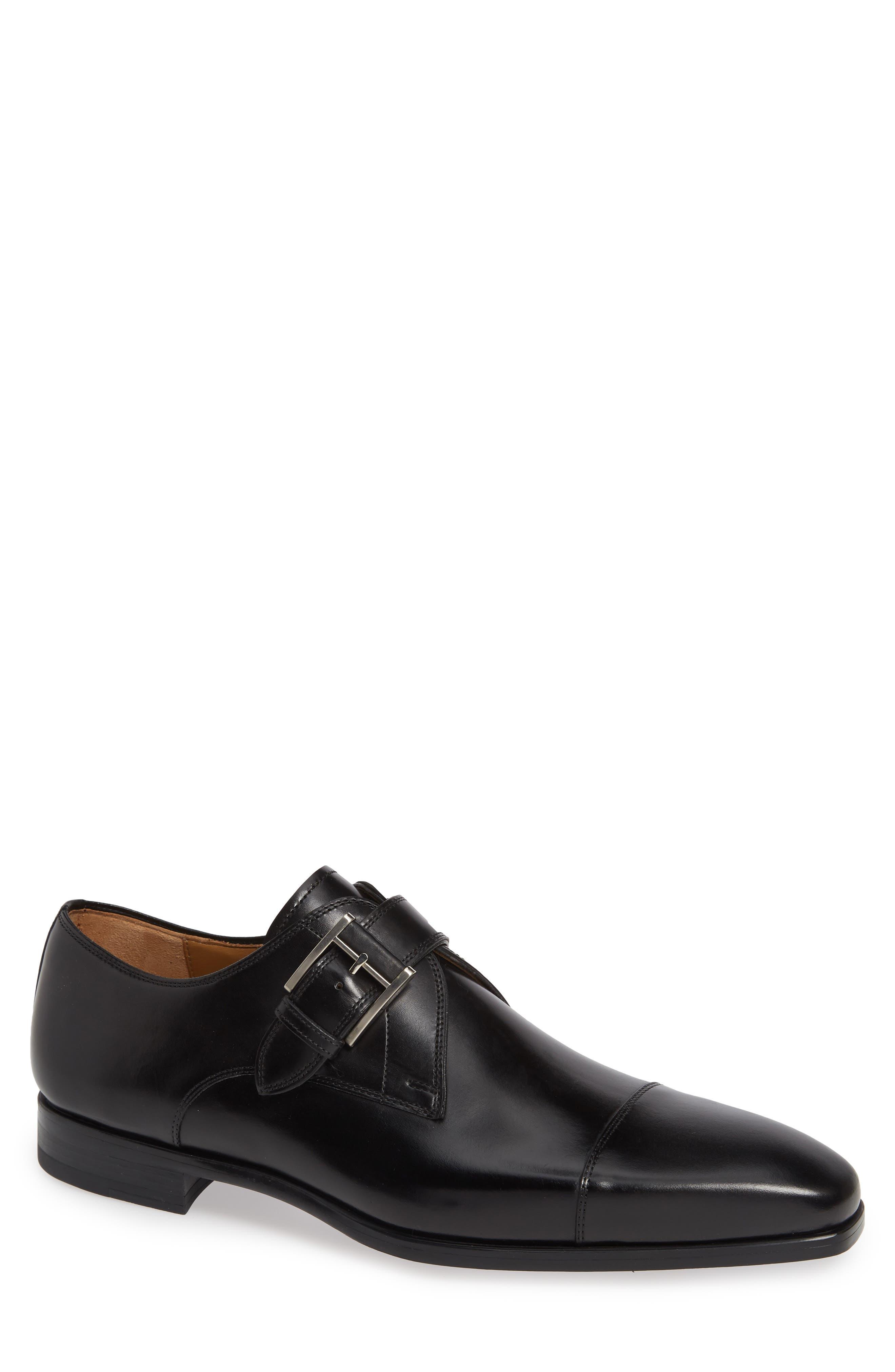 Patricio Monk Strap Shoe,                         Main,                         color, BLACK LEATHER