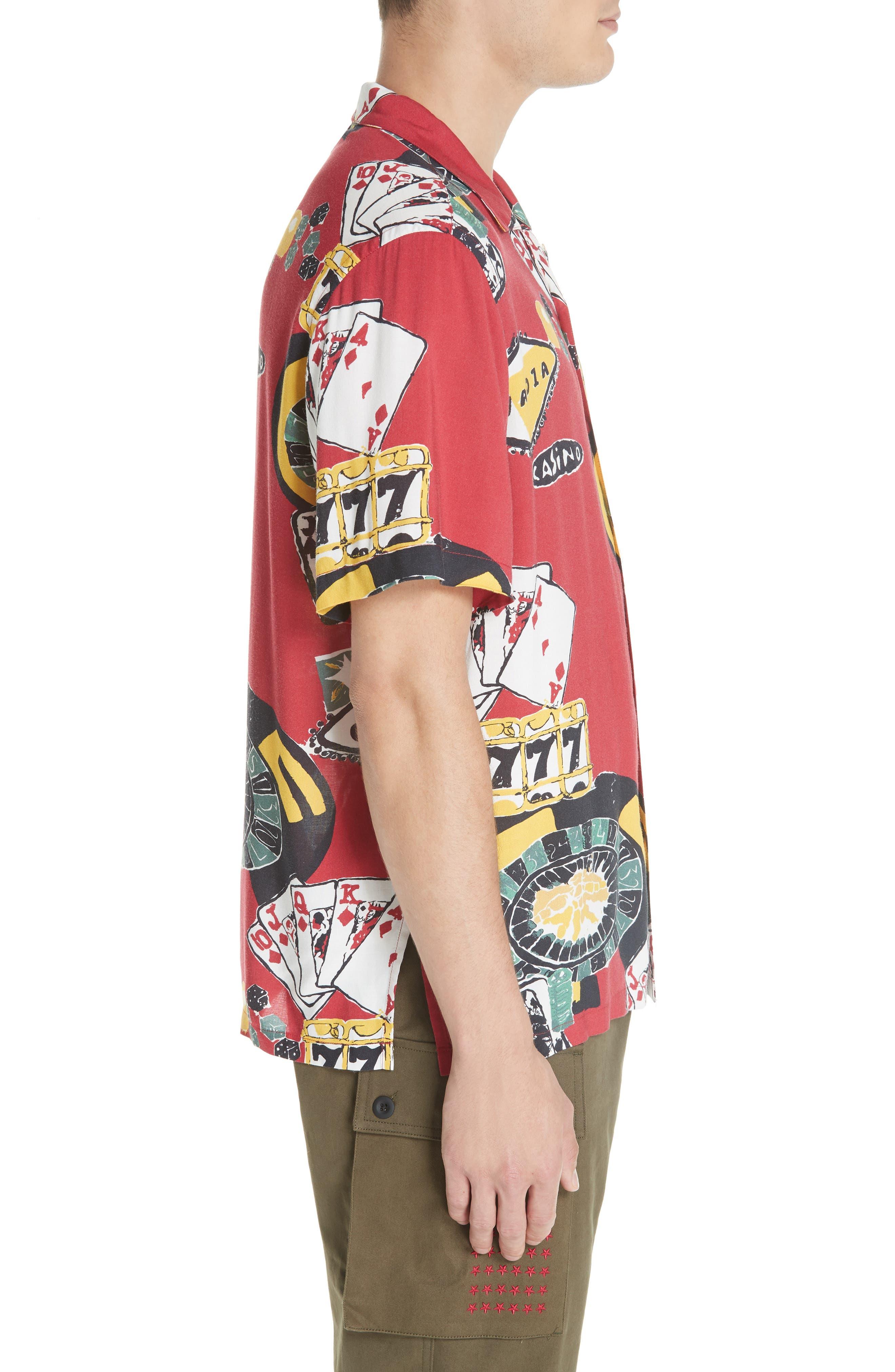 OVADIA & SONS,                             Casino Print Shirt,                             Alternate thumbnail 4, color,                             600