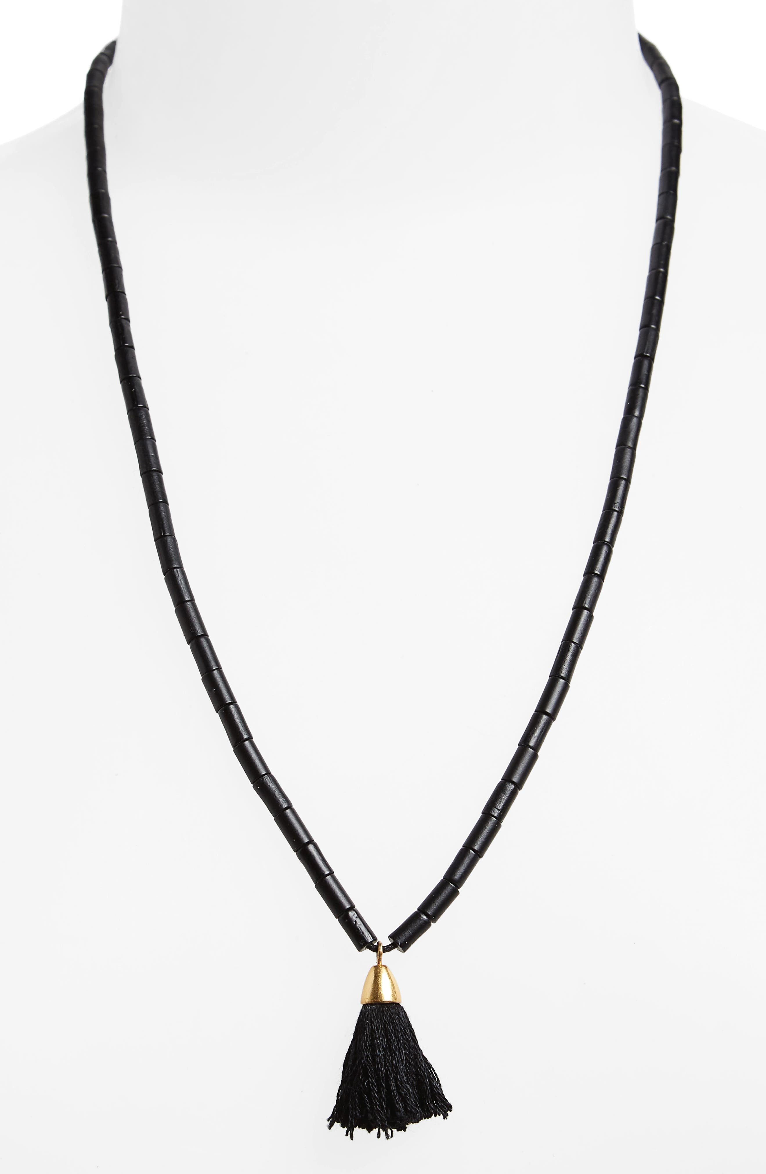 Adjustable Bead Tassel Necklace,                             Main thumbnail 1, color,