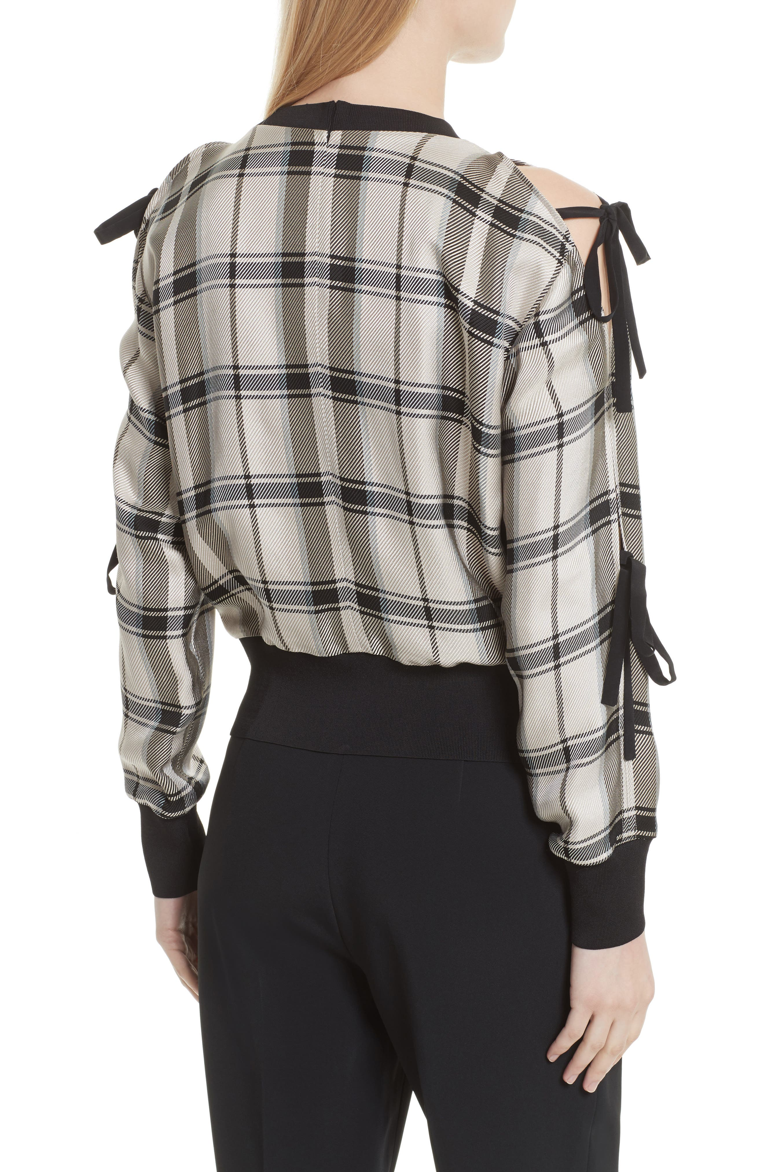 Tie Sleeve Check Pullover,                             Alternate thumbnail 2, color,                             907