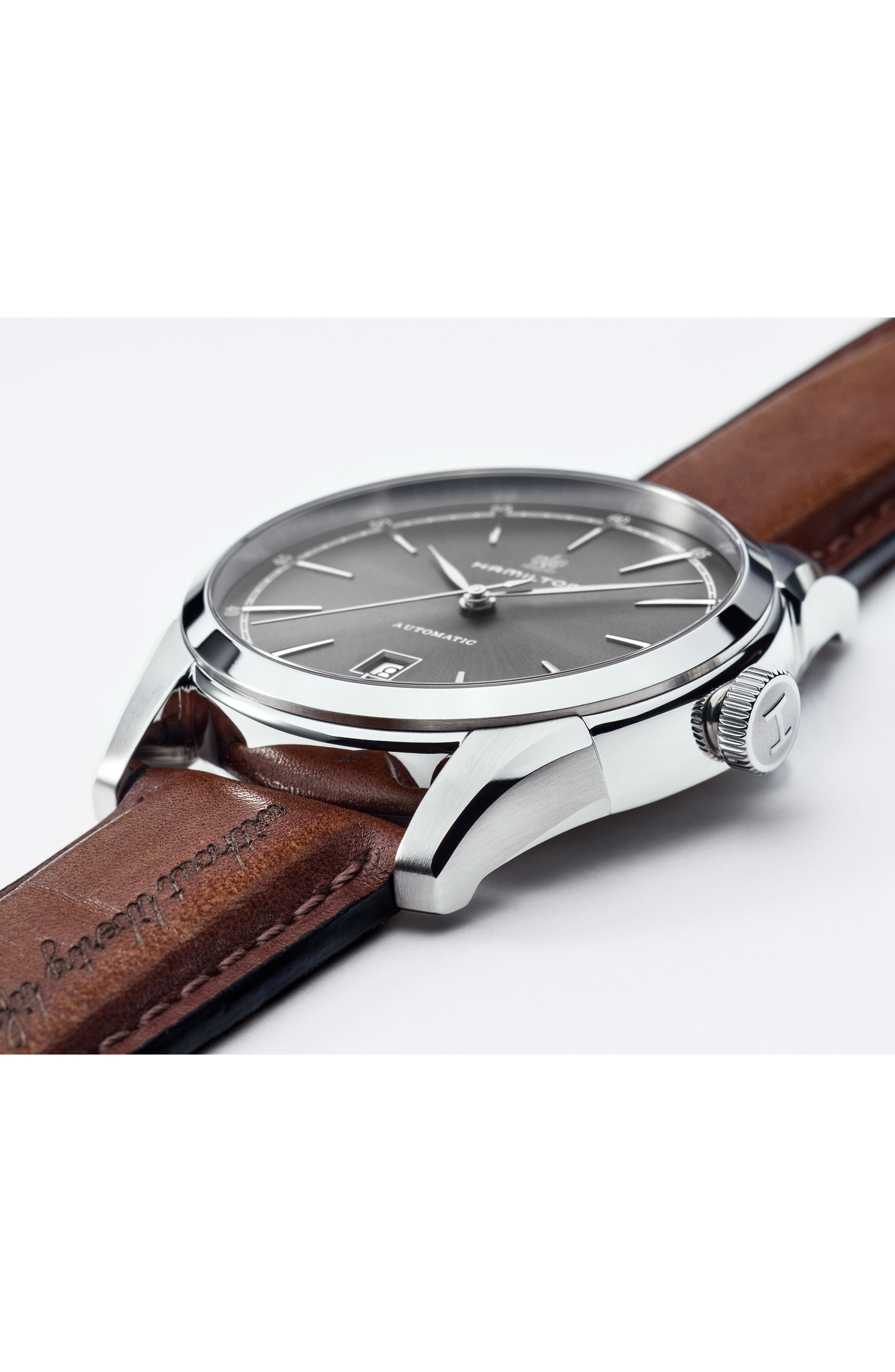 American Classic Automatic Leather Strap Watch, 42mm,                             Alternate thumbnail 5, color,                             BROWN/ GREY/ SILVER