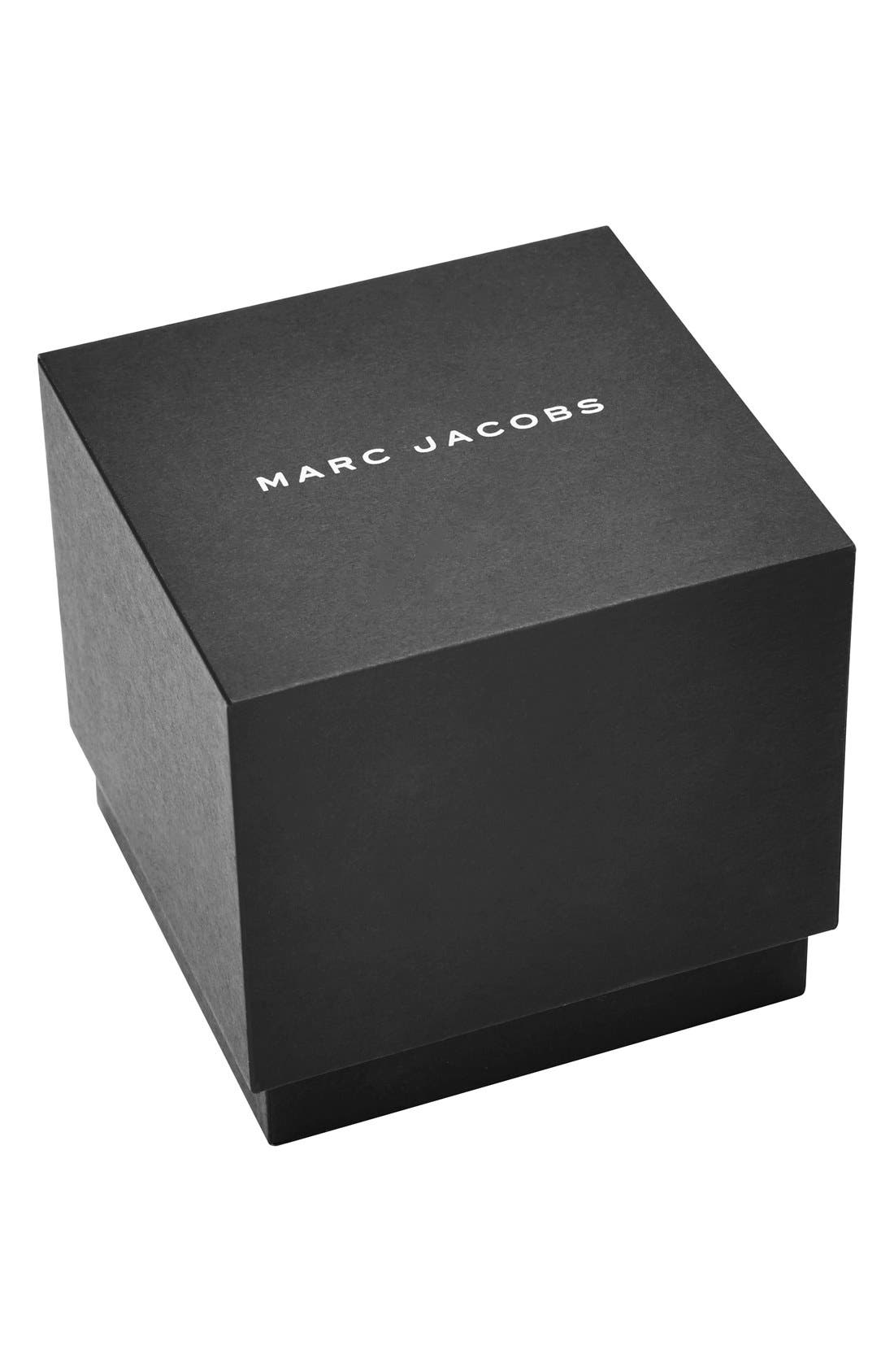 MARC JACOBS,                             'Dotty' Leather Strap Watch, 34mm,                             Alternate thumbnail 4, color,                             001