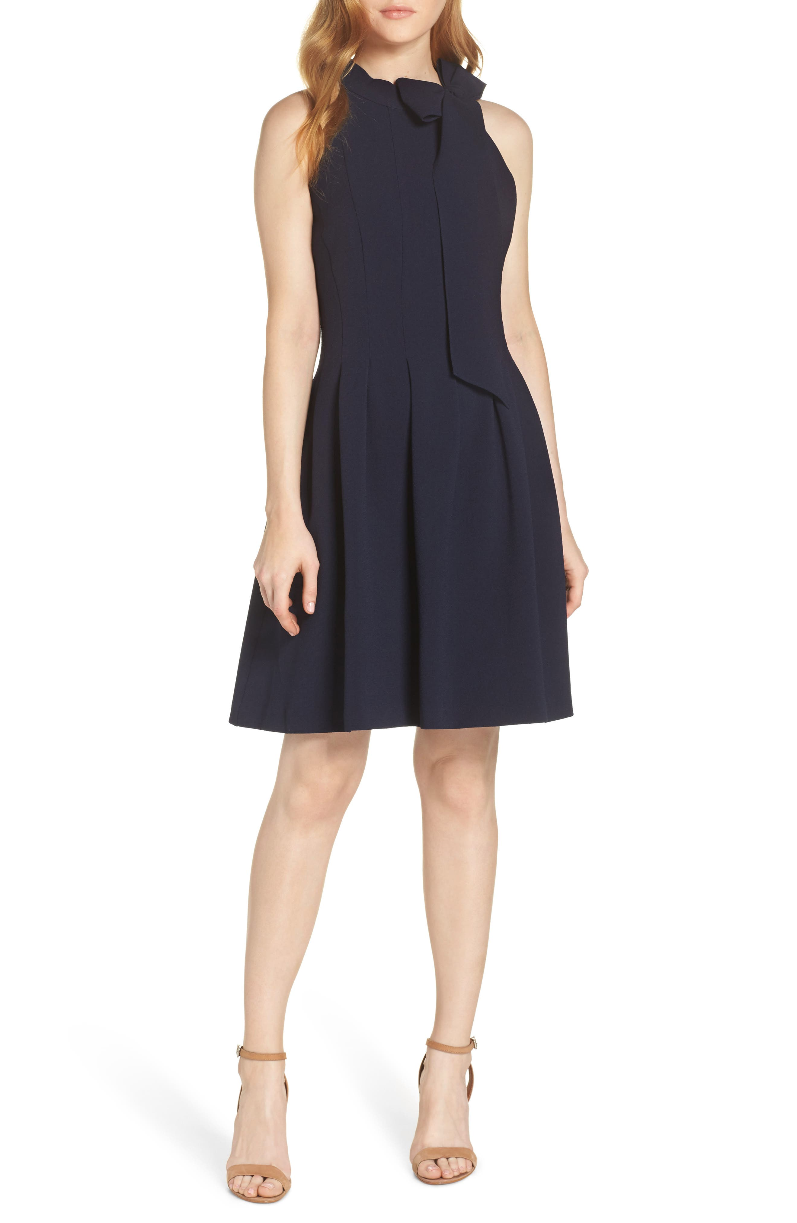 Vince Camuto Kors Crepe Fit & Flare Dress, Blue