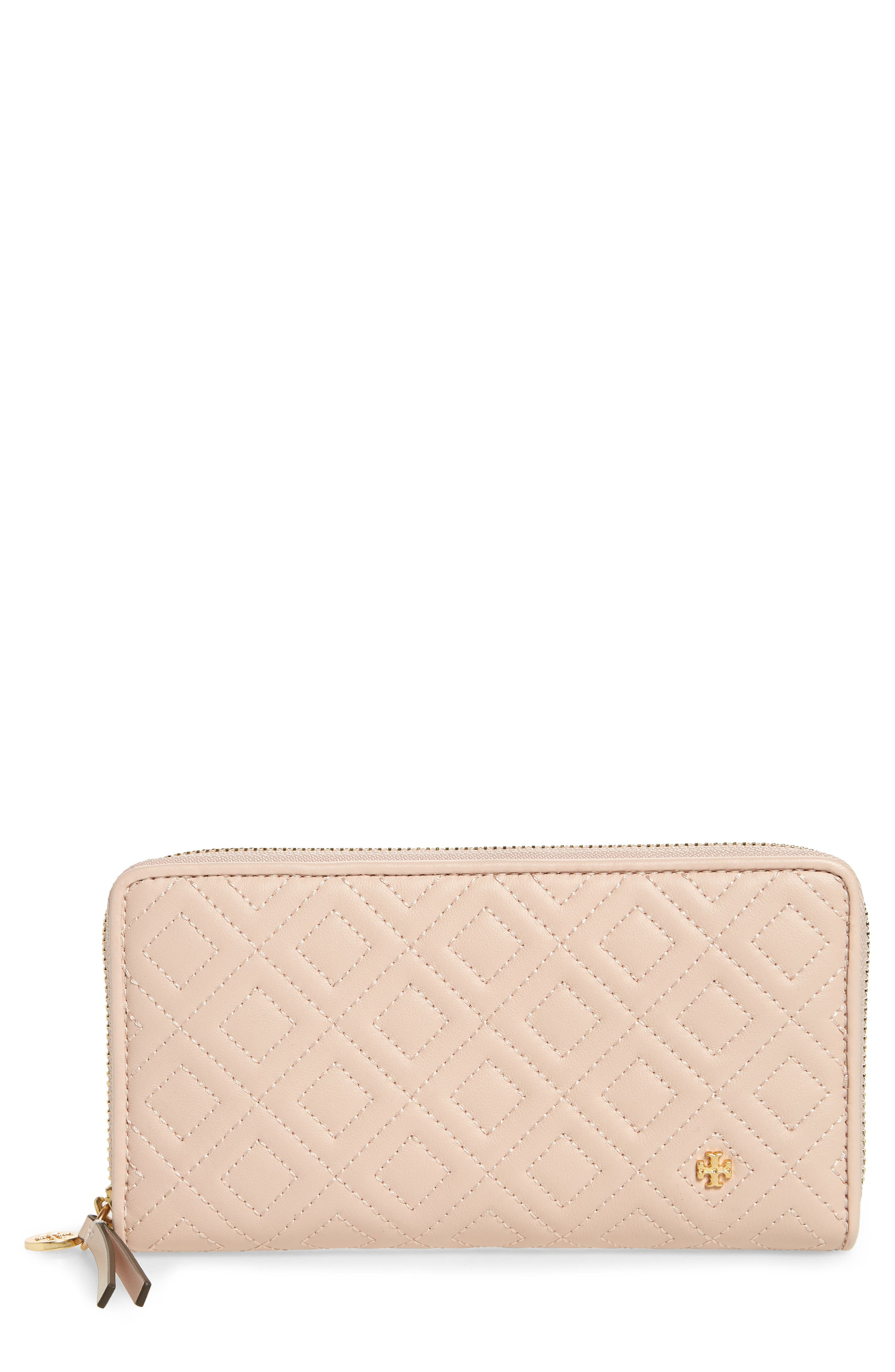 Fleming Leather Zip Around Wallet,                         Main,                         color, SHELL PINK