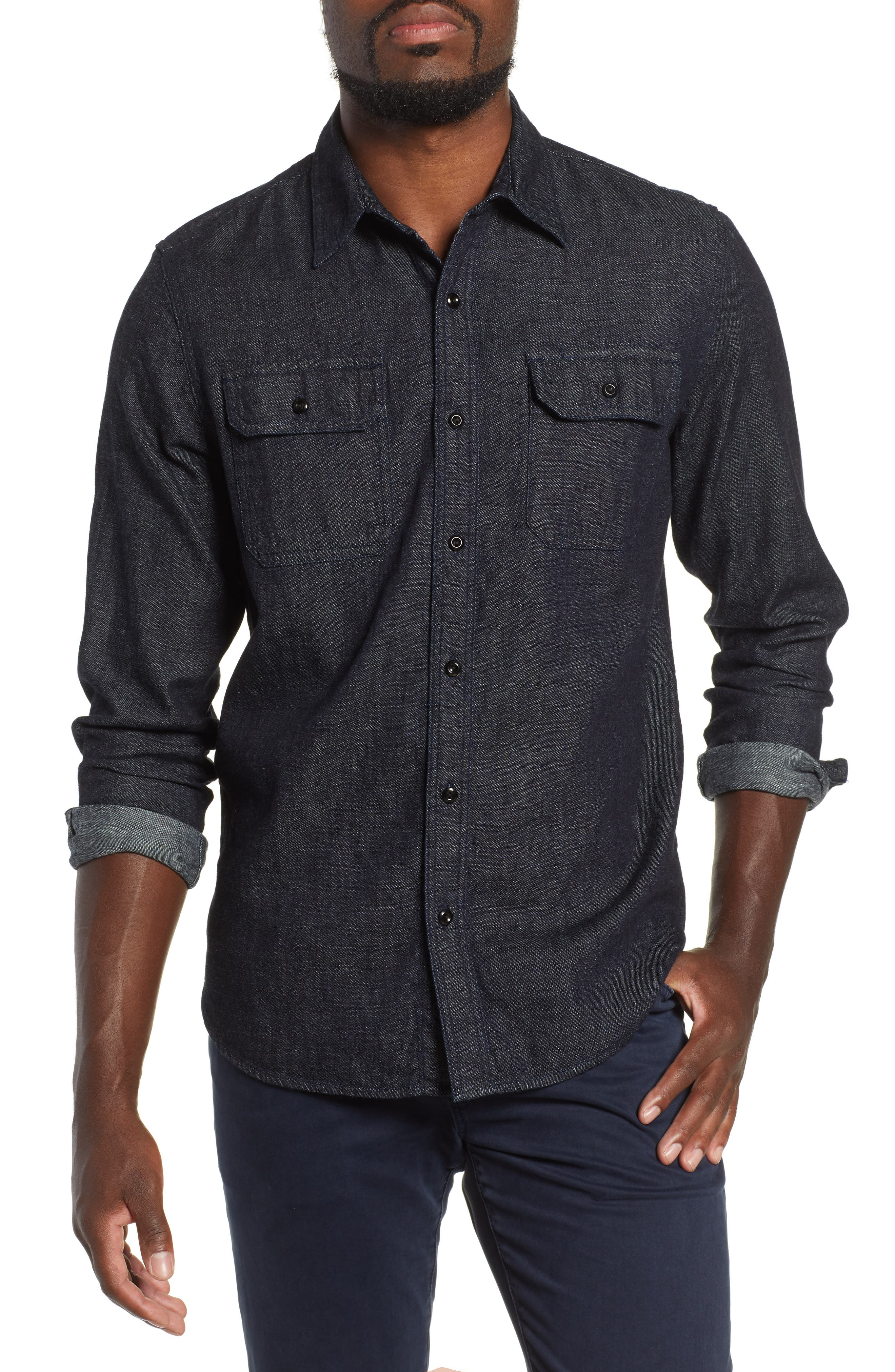 Benning Chambray Slim Fit Utility Shirt,                         Main,                         color, 020