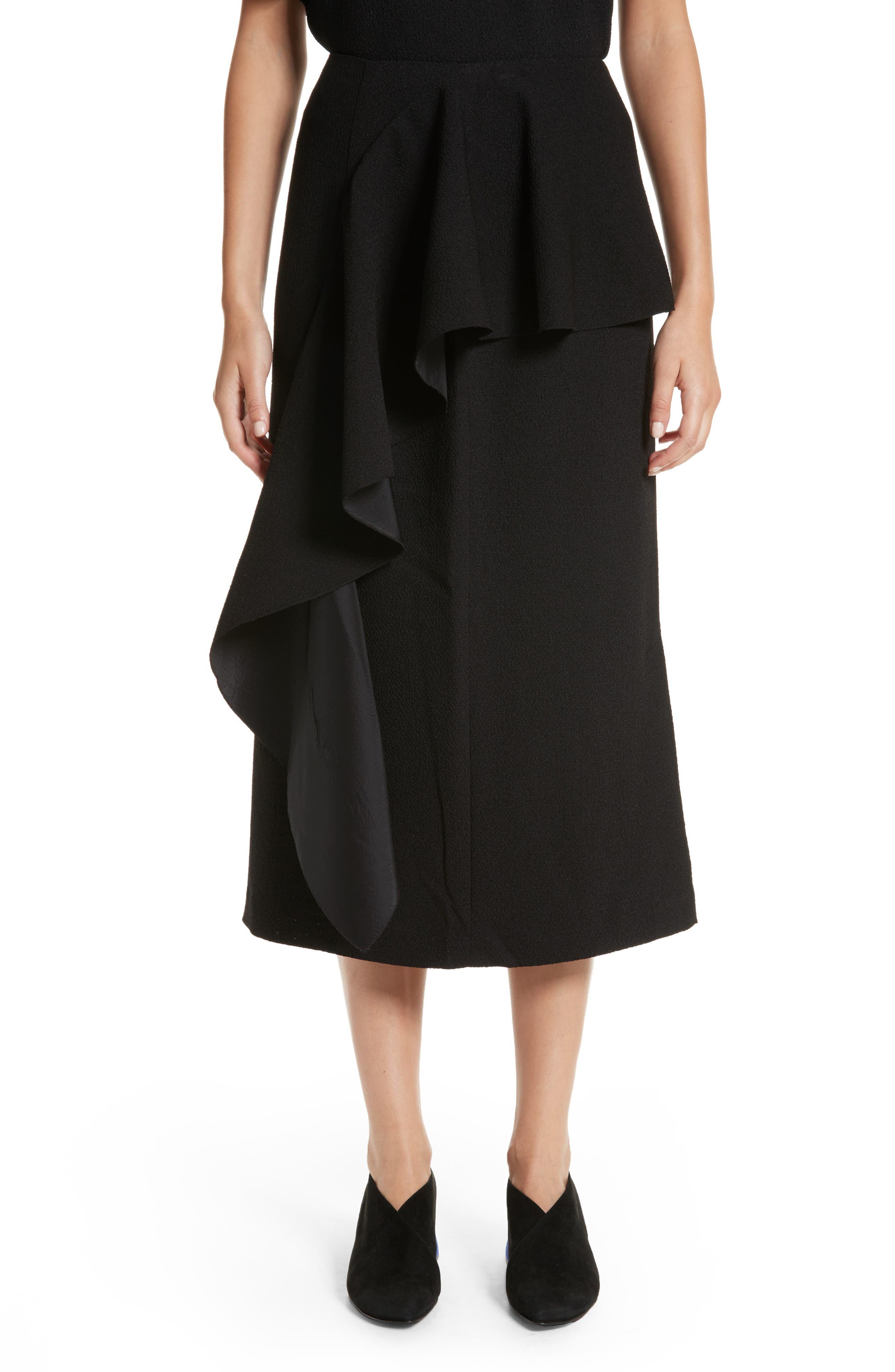 Maude Ruffle Panel Crepe Skirt,                             Main thumbnail 1, color,                             001