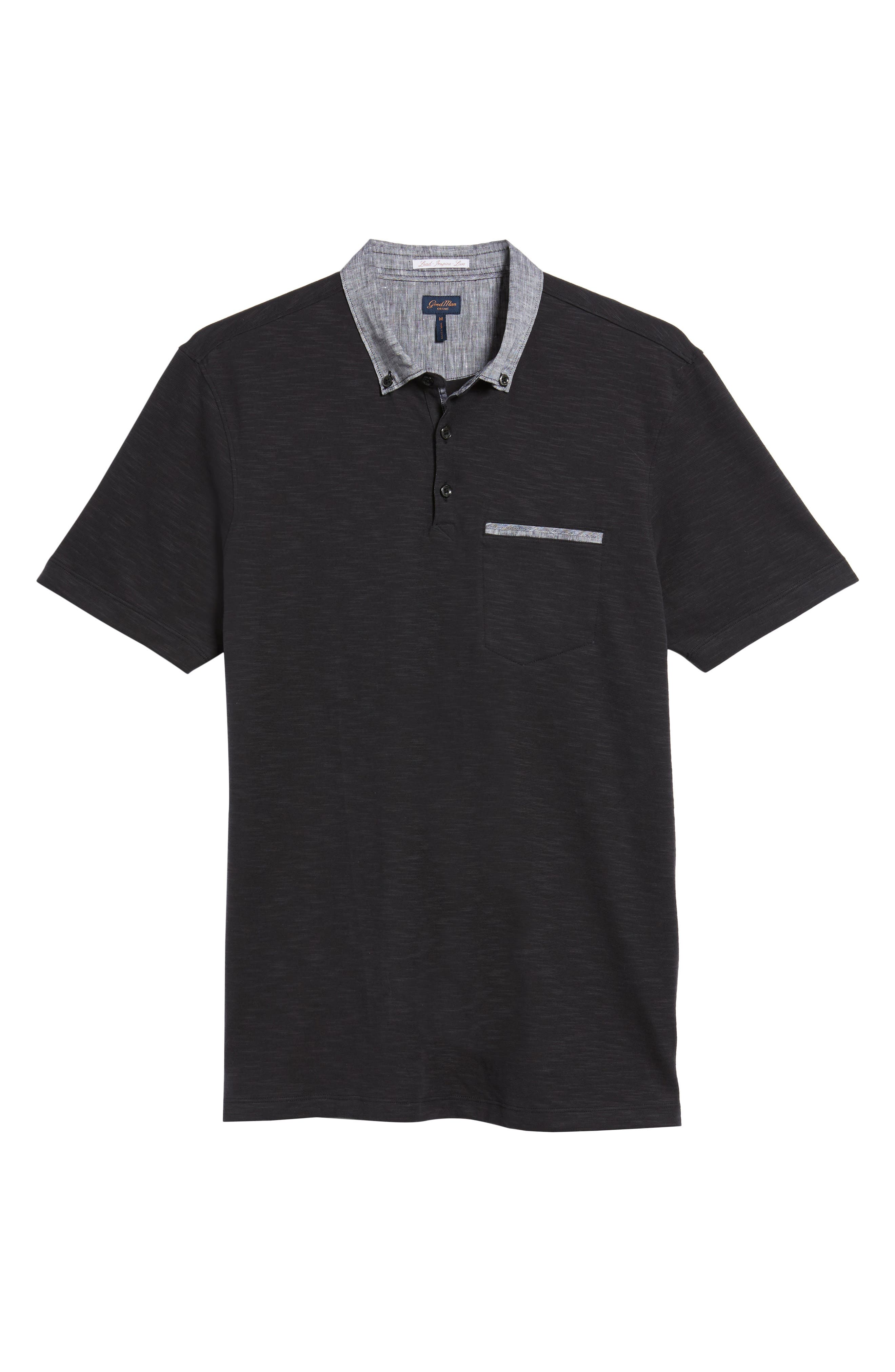 Slub Jersey Cotton Polo Shirt,                             Alternate thumbnail 6, color,                             001