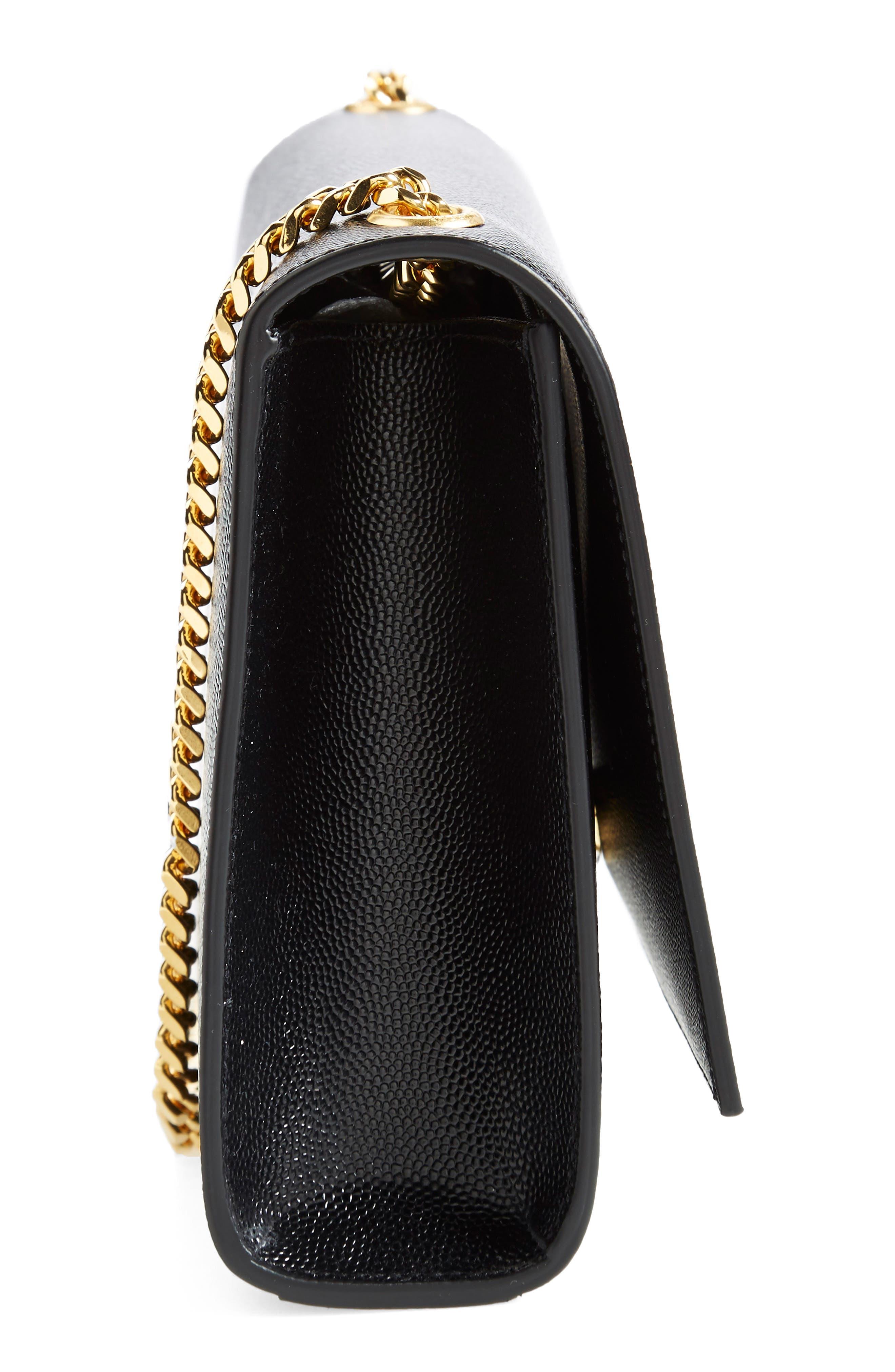 'Medium Kate' Leather Chain Shoulder Bag,                             Alternate thumbnail 6, color,                             NOIR