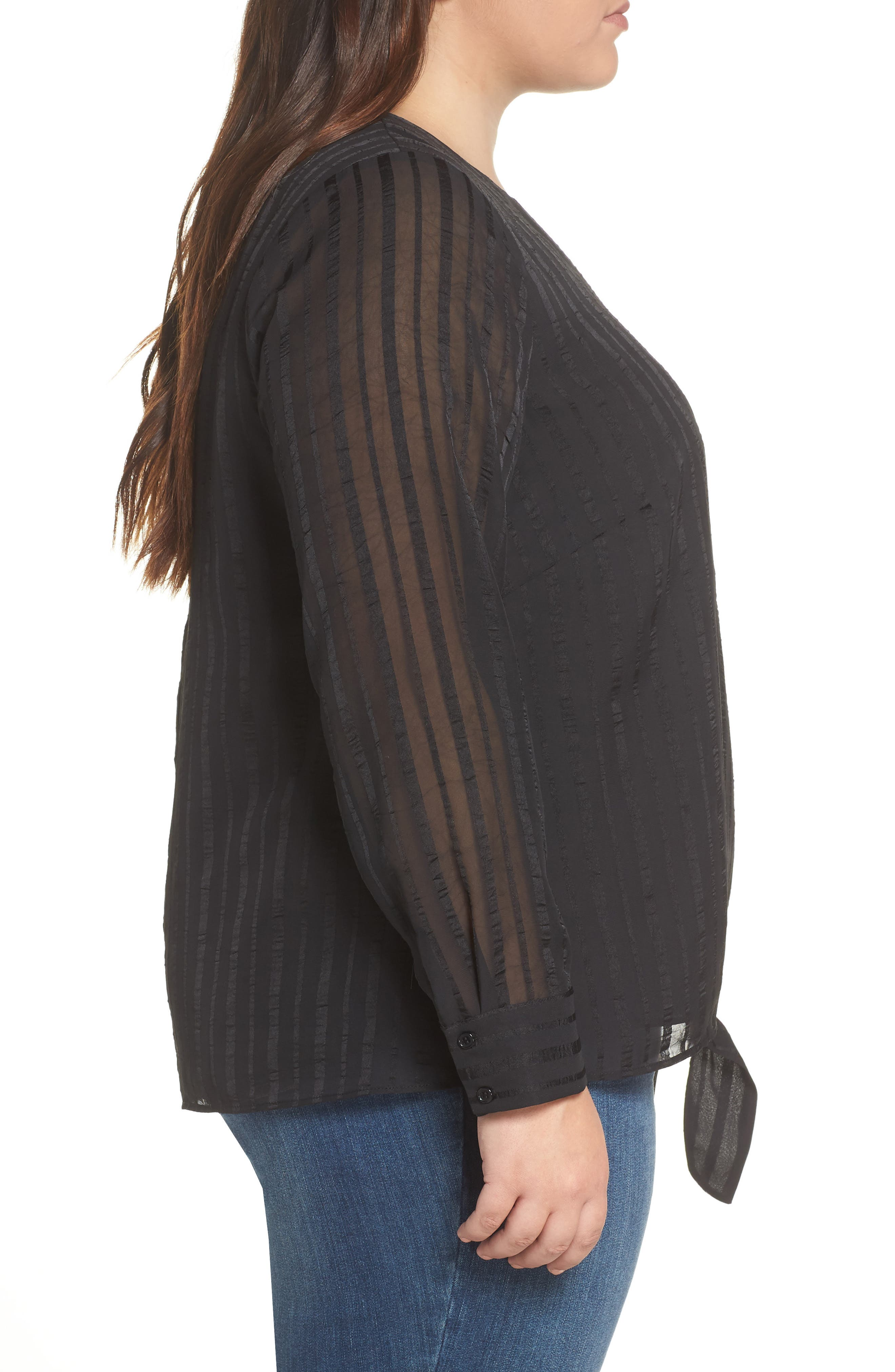 &.LAYERED,                             Side Tie Shadow Stripe Top,                             Alternate thumbnail 3, color,                             BLACK