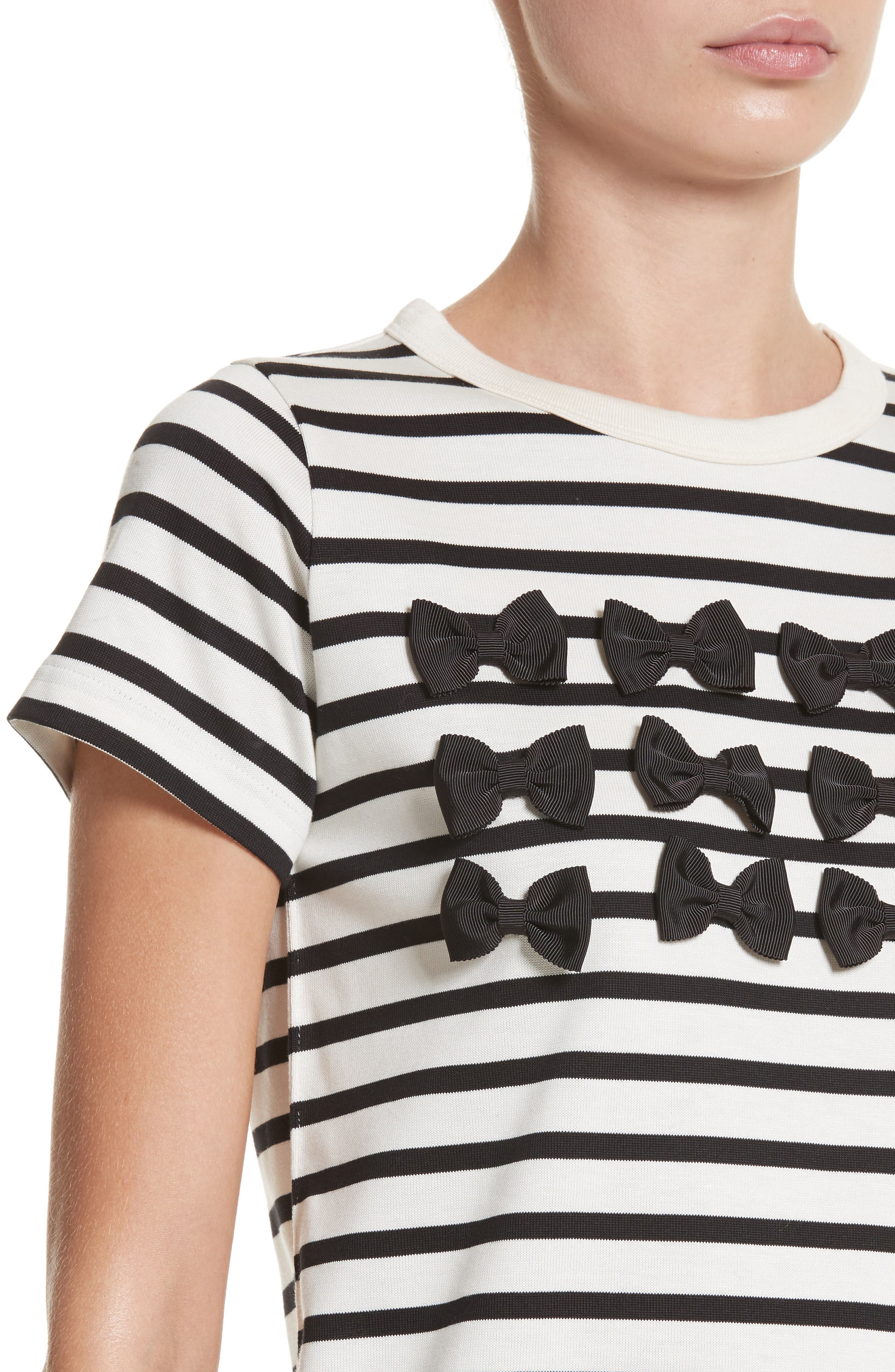 Grosgrain Bow Stripe Tee,                             Alternate thumbnail 4, color,                             900