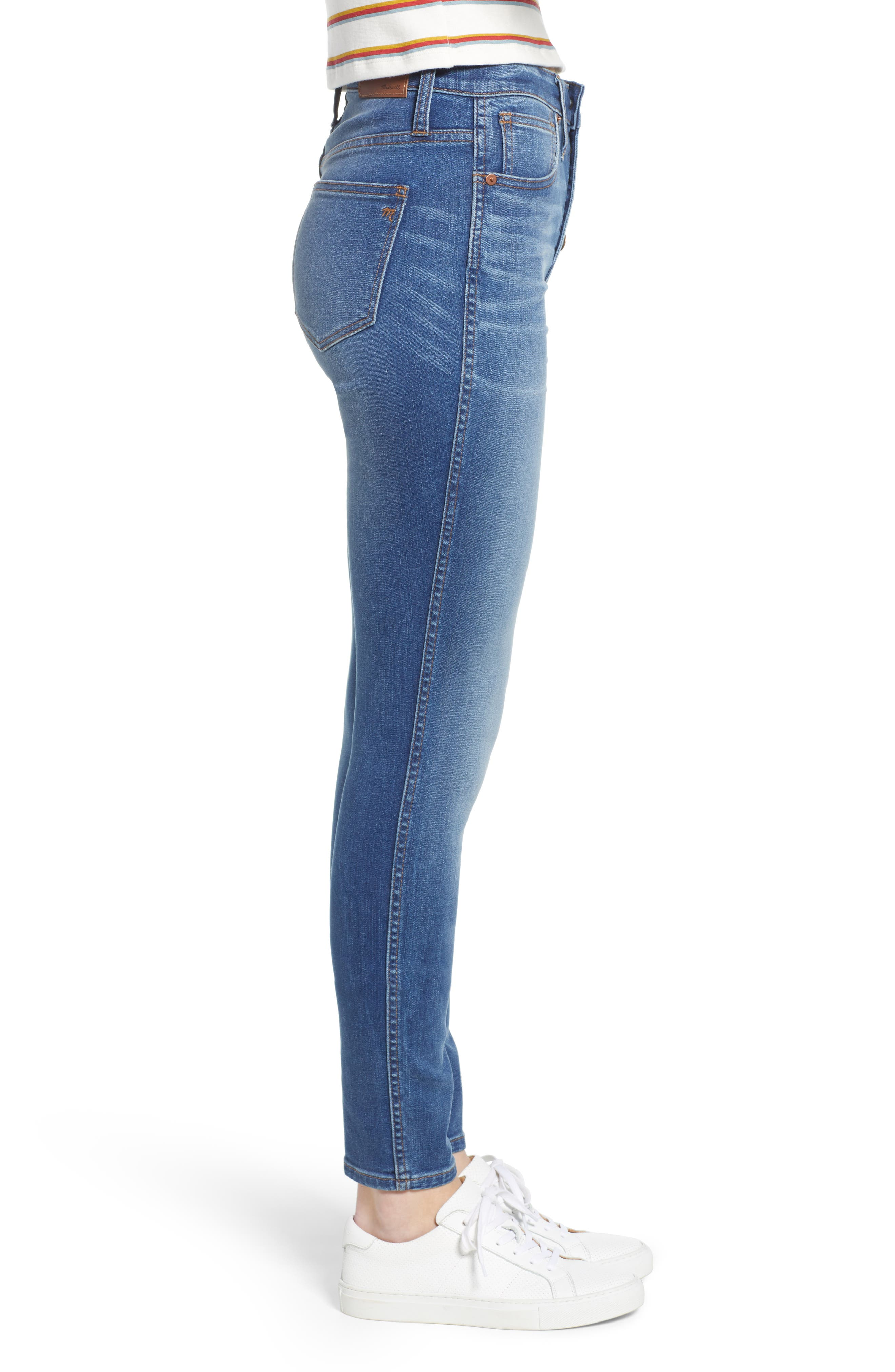 10-Inch High Waist Skinny Jeans,                             Alternate thumbnail 3, color,                             400