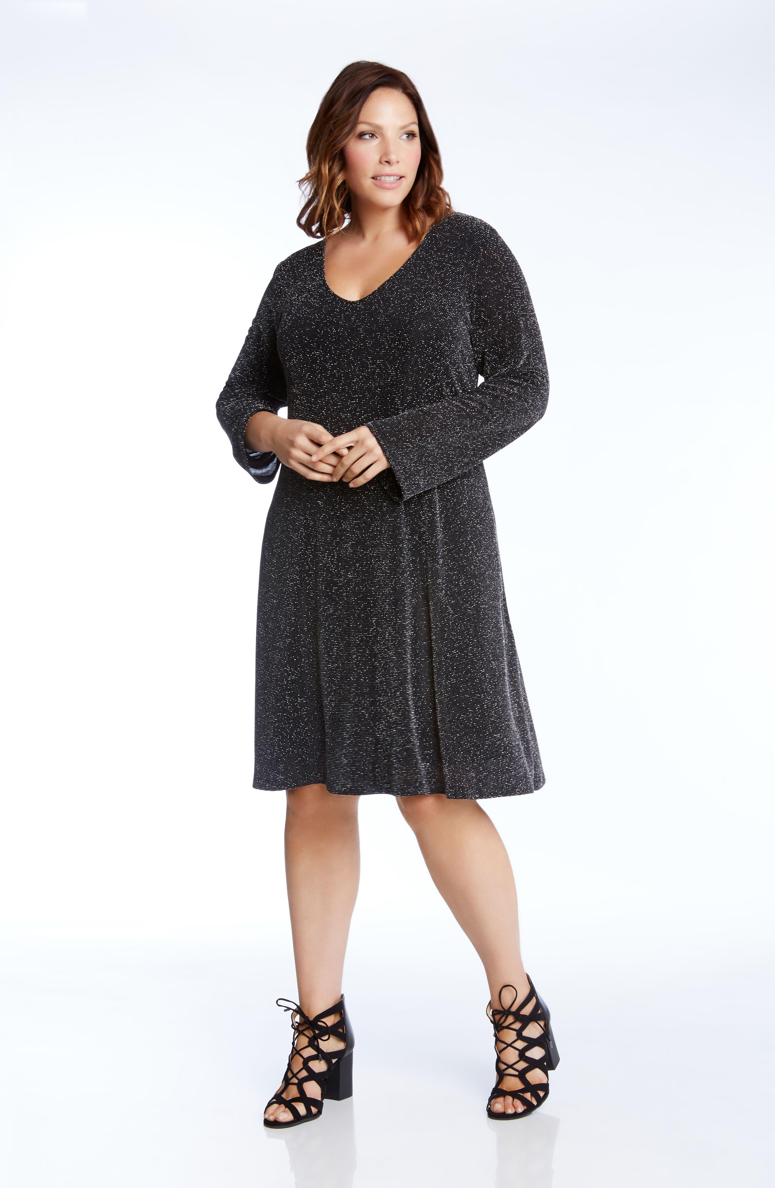 Taylor Sparkle Knit Dress,                             Alternate thumbnail 4, color,                             044