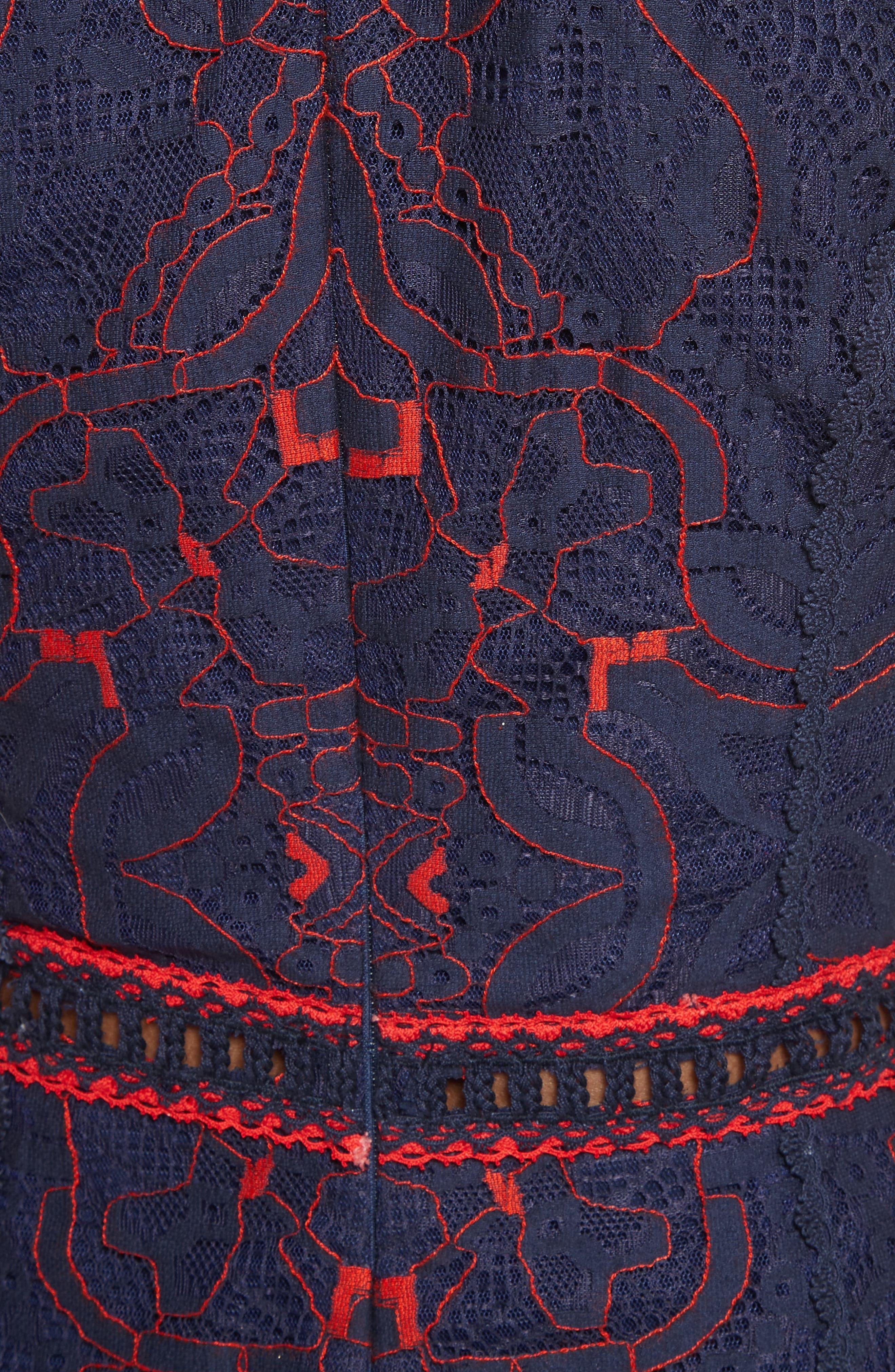 Lace Ruffle Hem Dress,                             Alternate thumbnail 5, color,                             497