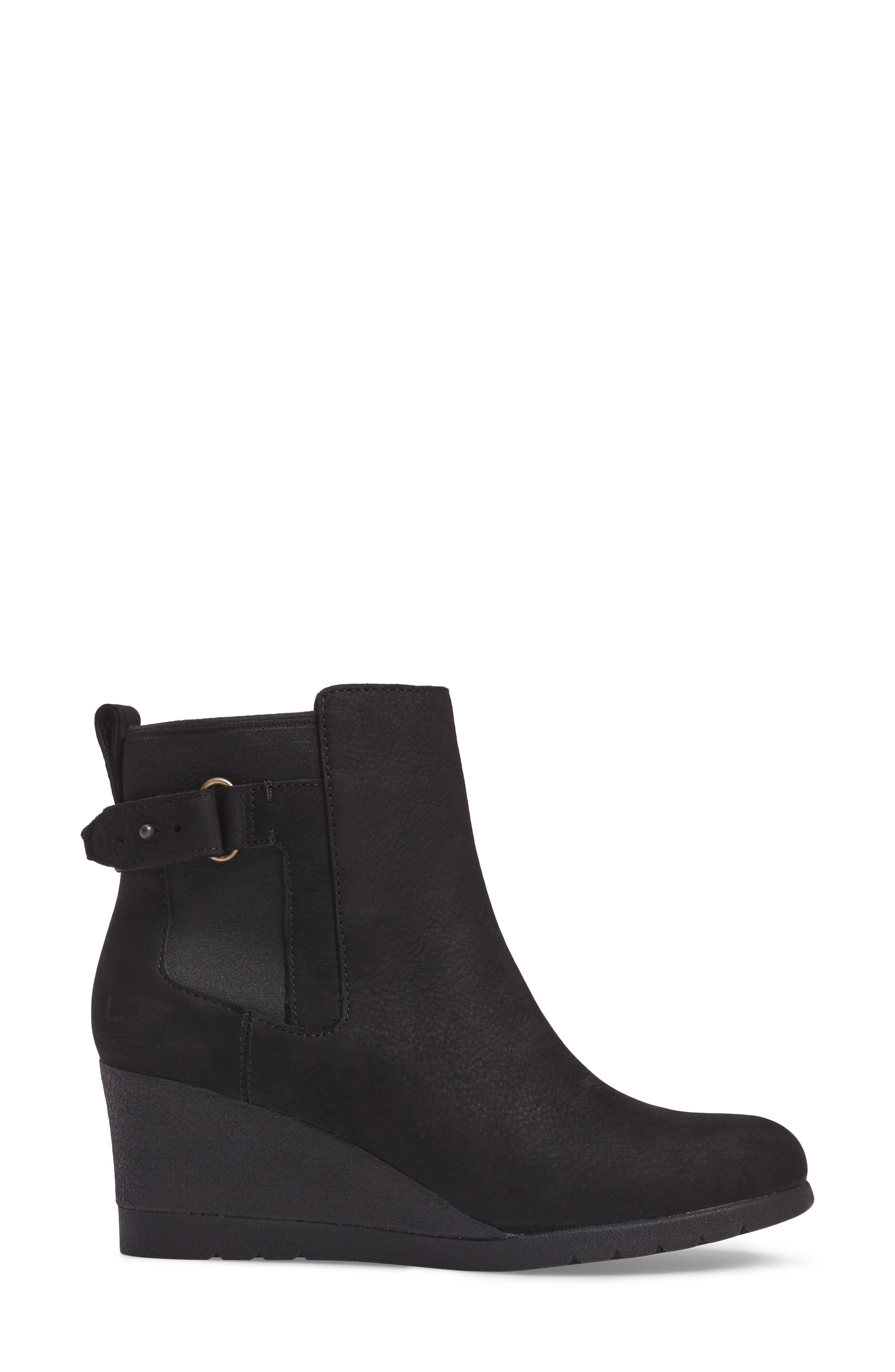 Waterproof Insulated Wedge Boot,                             Alternate thumbnail 3, color,                             BLACK LEATHER