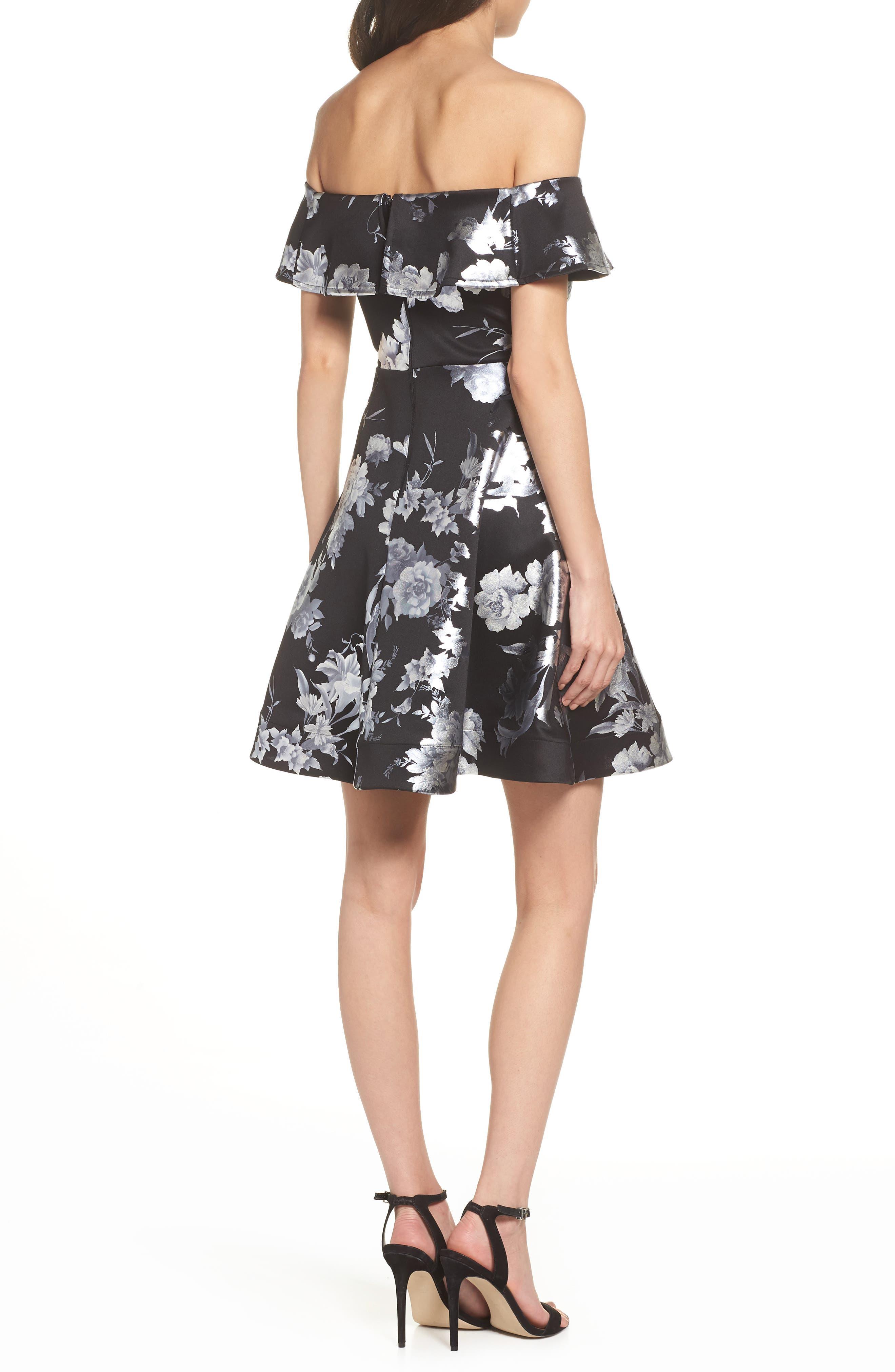 Off the Shoulder Foil Scuba Fit & Flare Dress,                             Alternate thumbnail 2, color,                             BLACK/ SILVER
