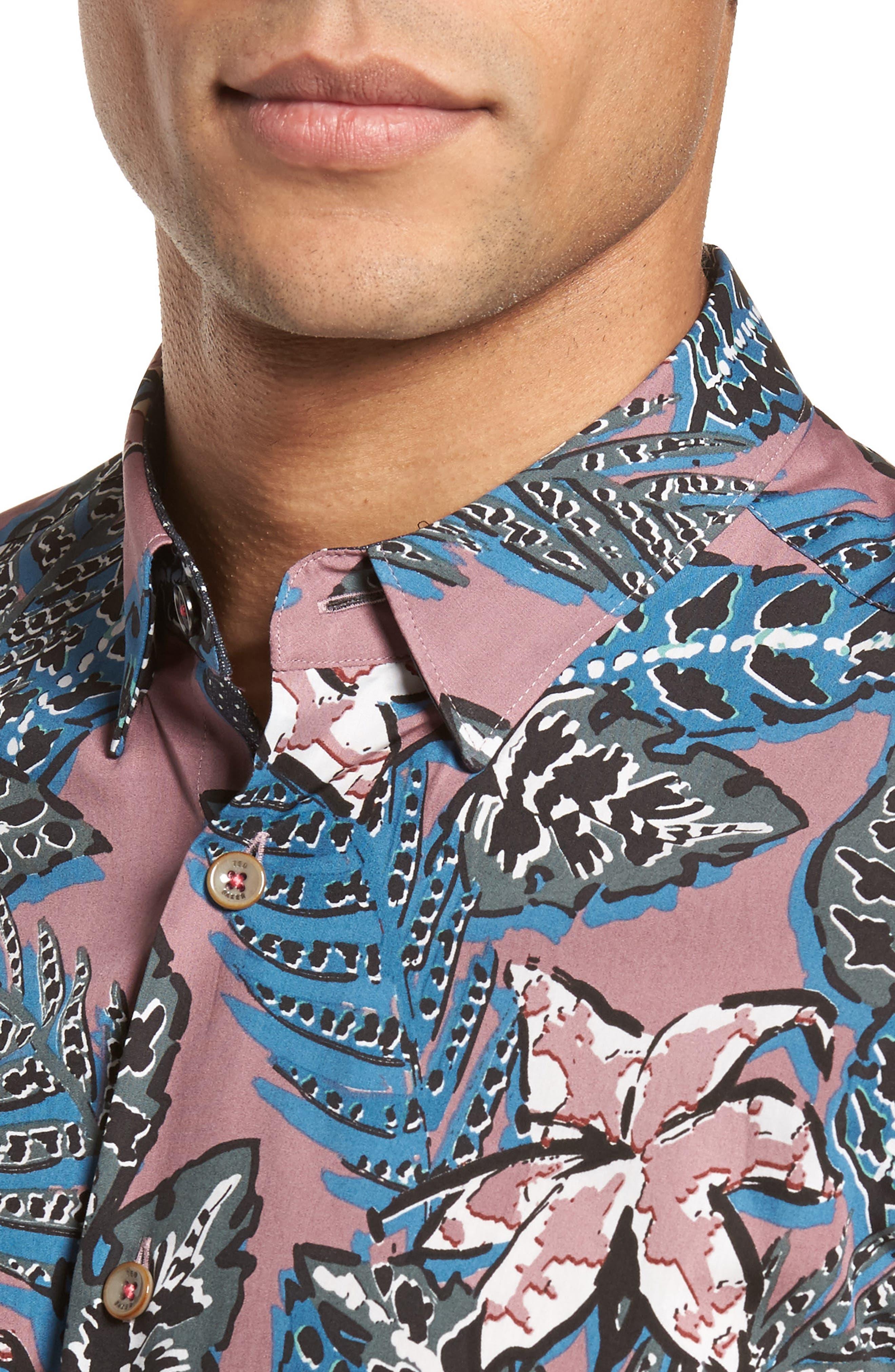 Clbtrop Trim Fit Tropical Woven Shirt,                             Alternate thumbnail 4, color,