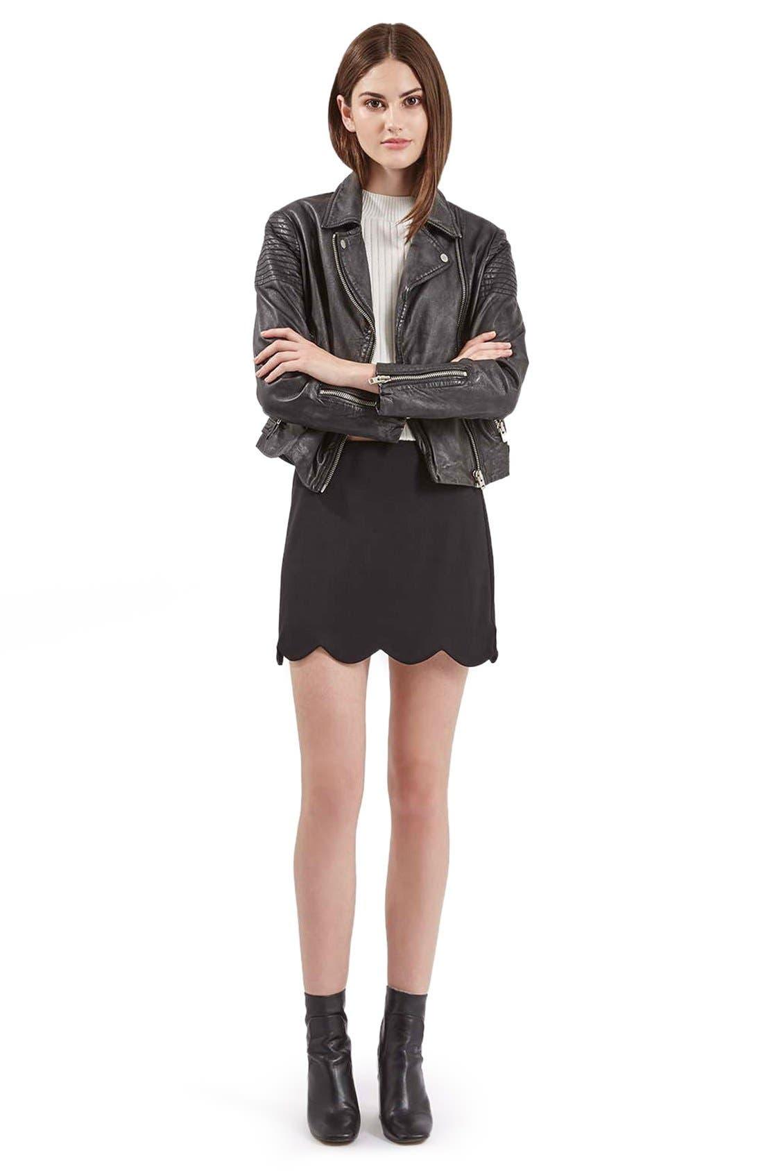 Scallop Hem Miniskirt,                             Alternate thumbnail 4, color,                             001