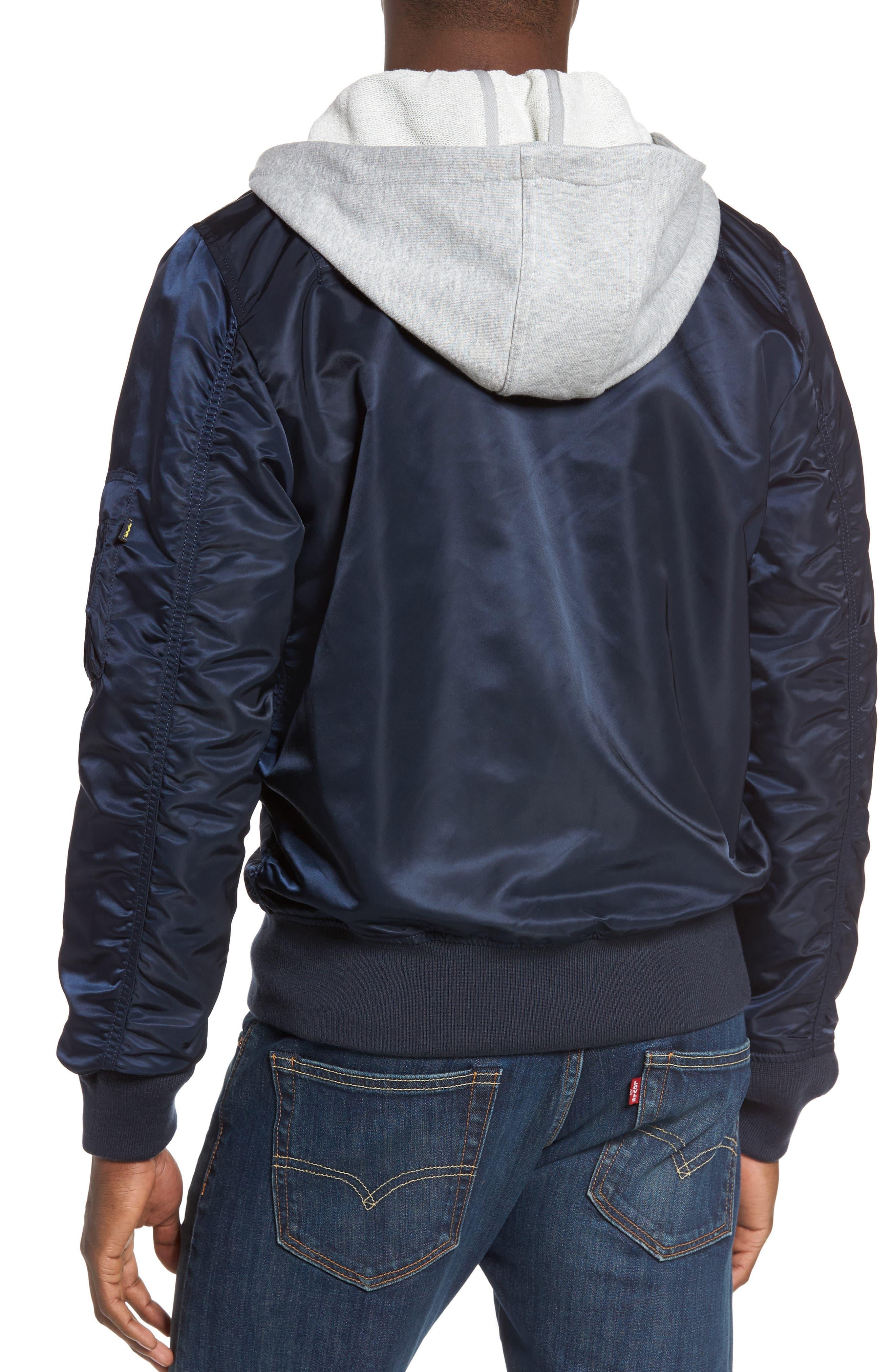 Lightweight L2-B Flight Jacket with Knit Hood,                             Alternate thumbnail 8, color,