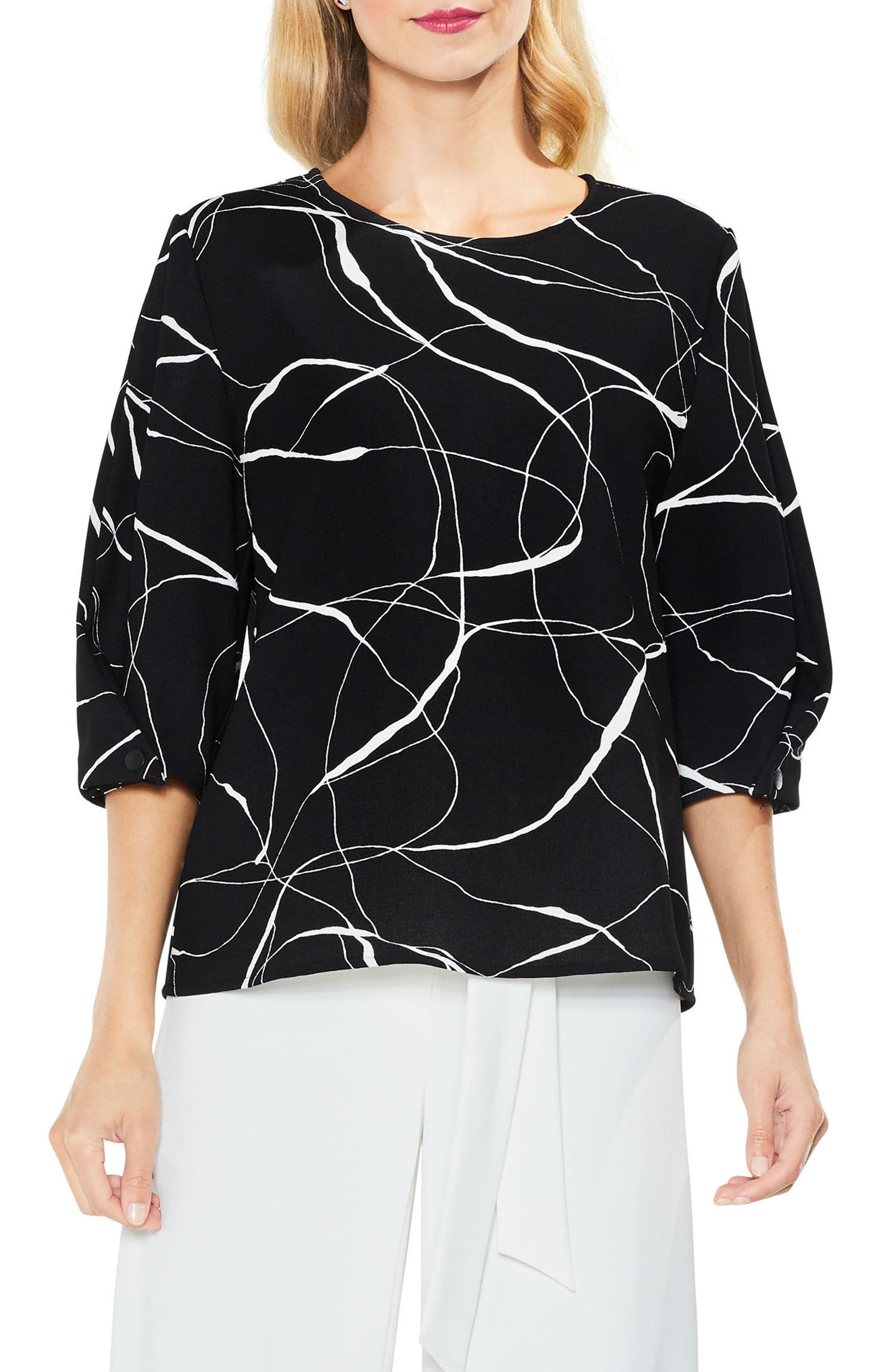 Ink Swirl Crepe Blouse,                         Main,                         color, 010
