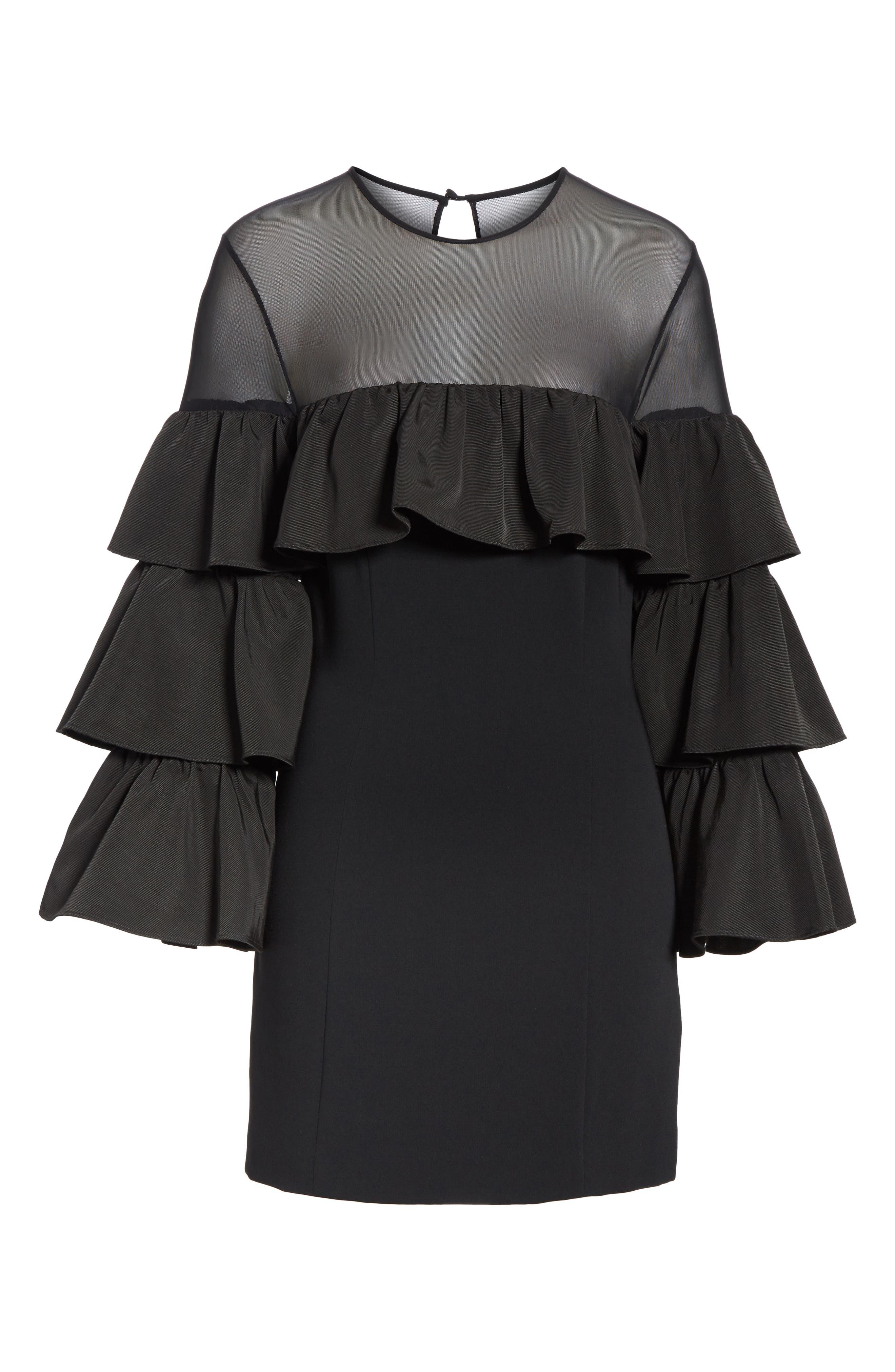 Valentina Ruffle Sleeve Dress,                             Alternate thumbnail 6, color,                             001