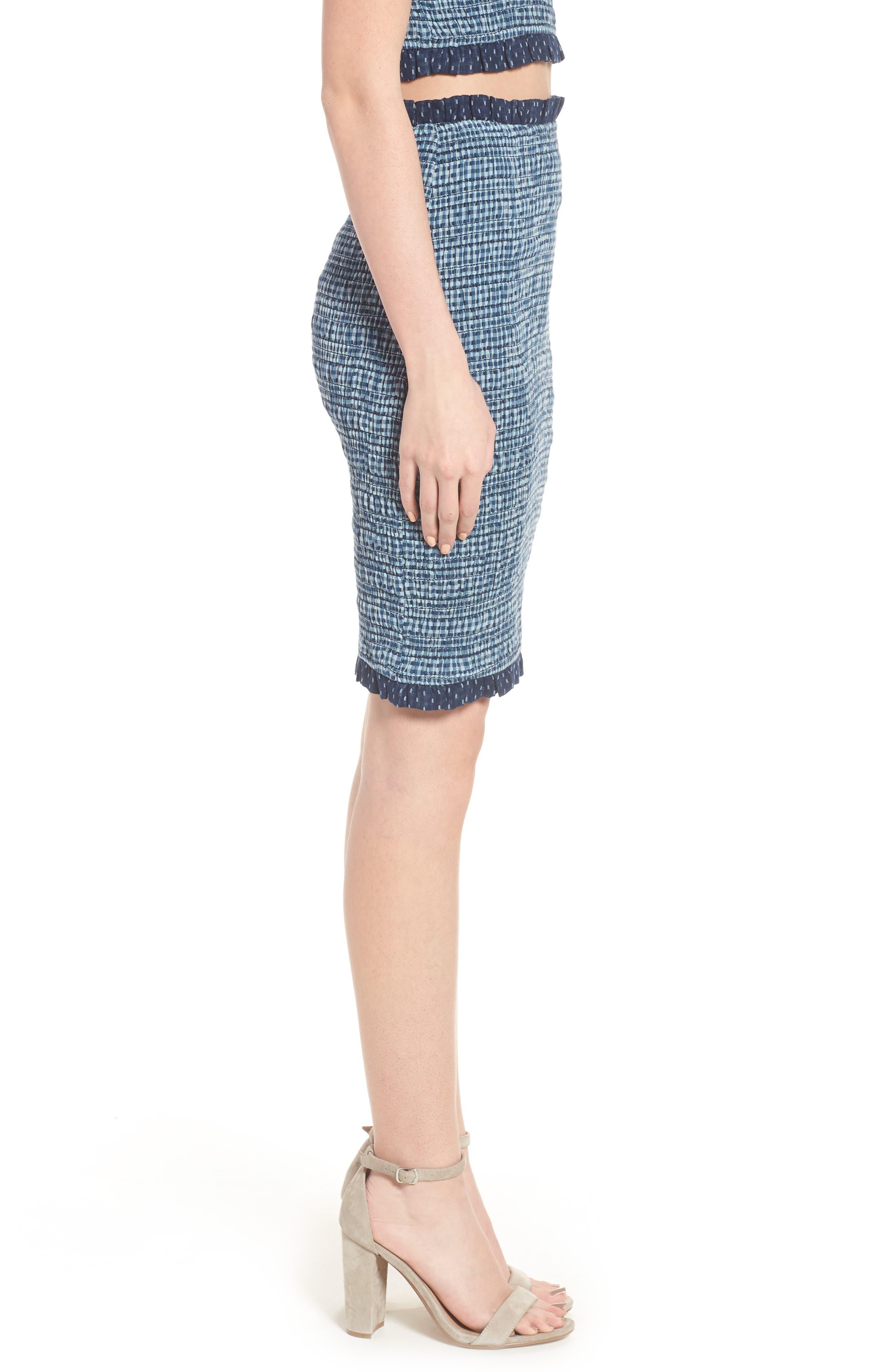 Kylie Smocked Skirt,                             Alternate thumbnail 3, color,                             001