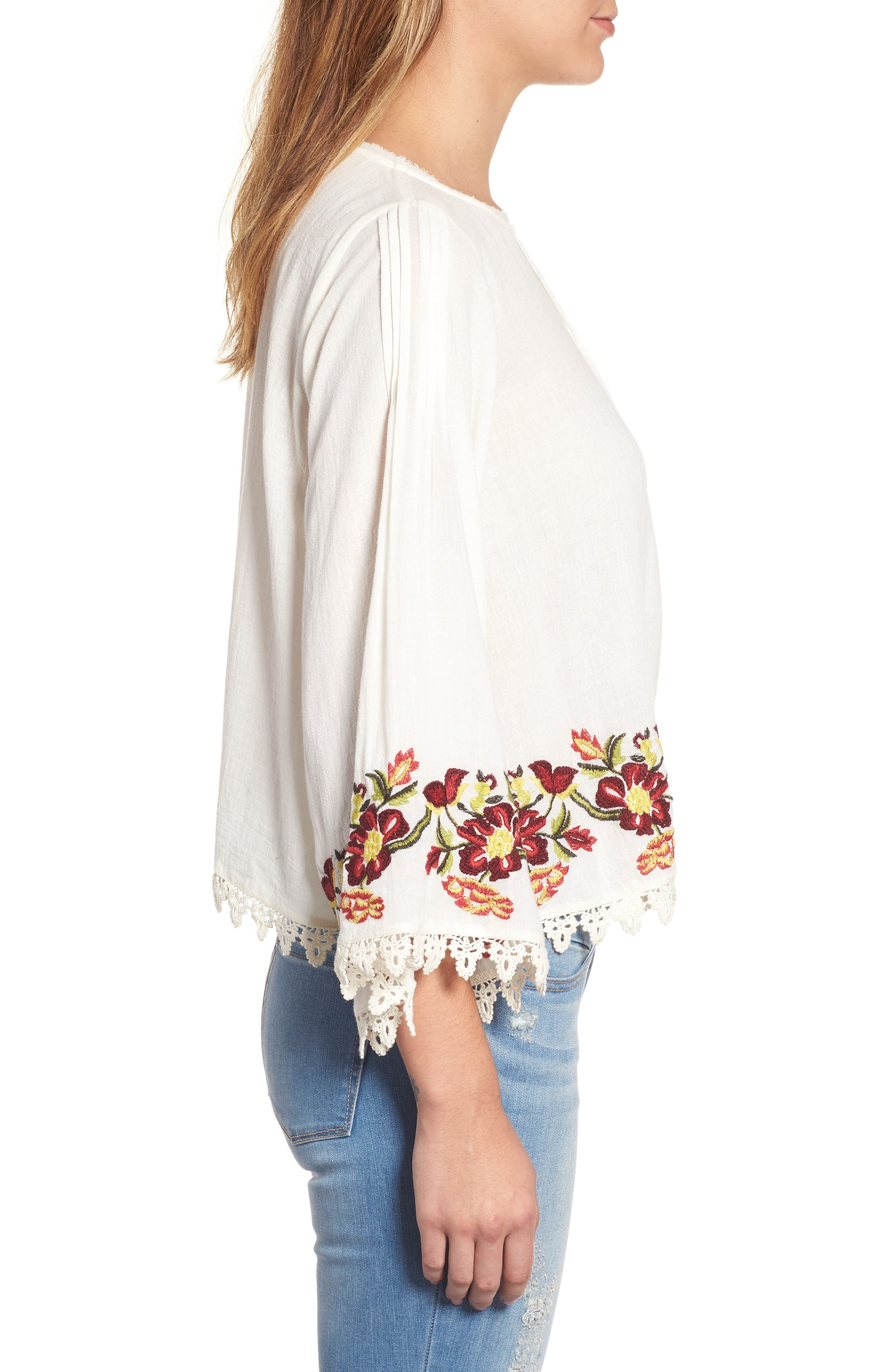 Embroidered Swing Blouse,                             Alternate thumbnail 3, color,                             902