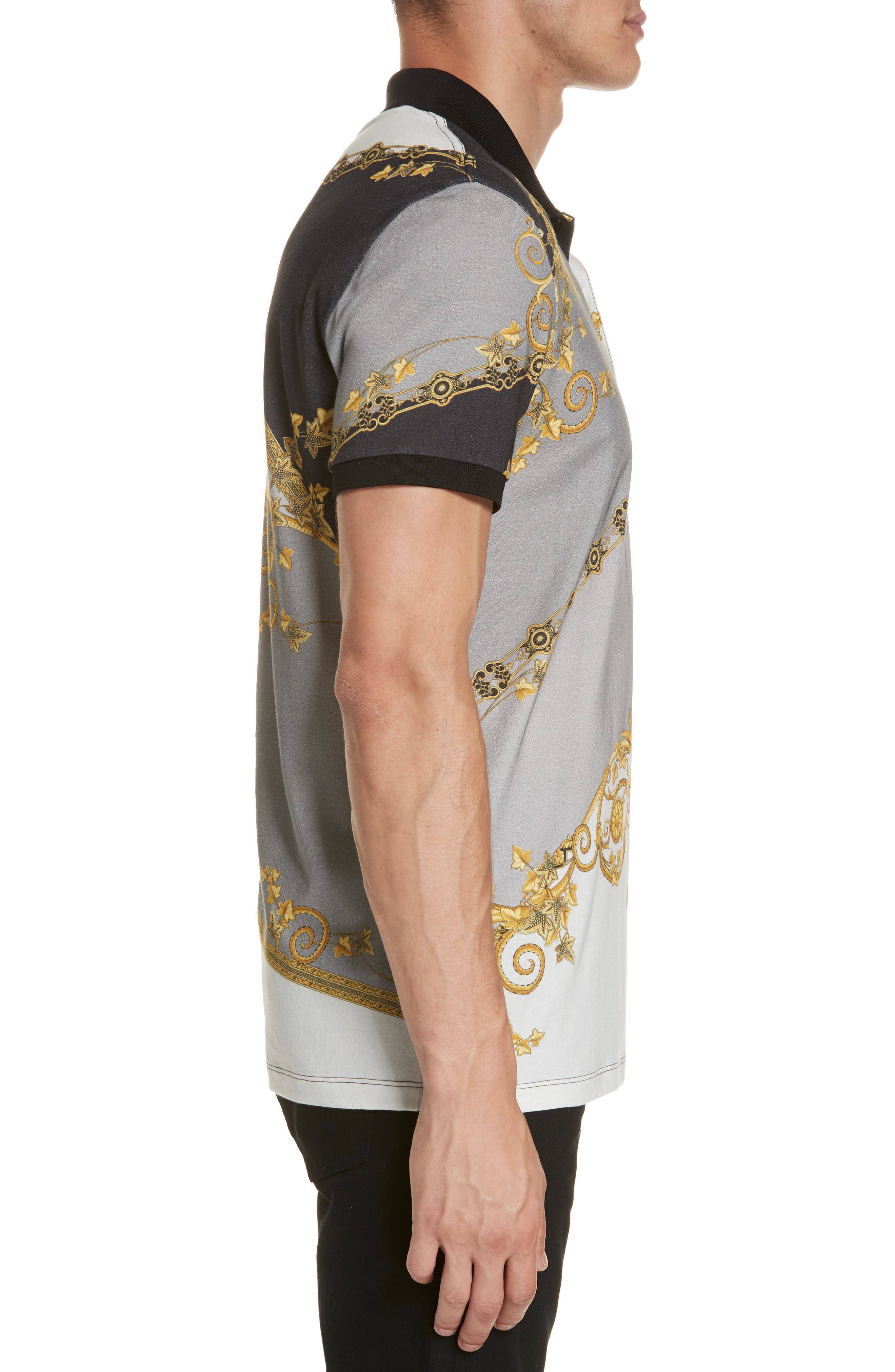 VERSACE COLLECTION,                             Print Jersey Polo,                             Alternate thumbnail 3, color,                             GREY PRINT