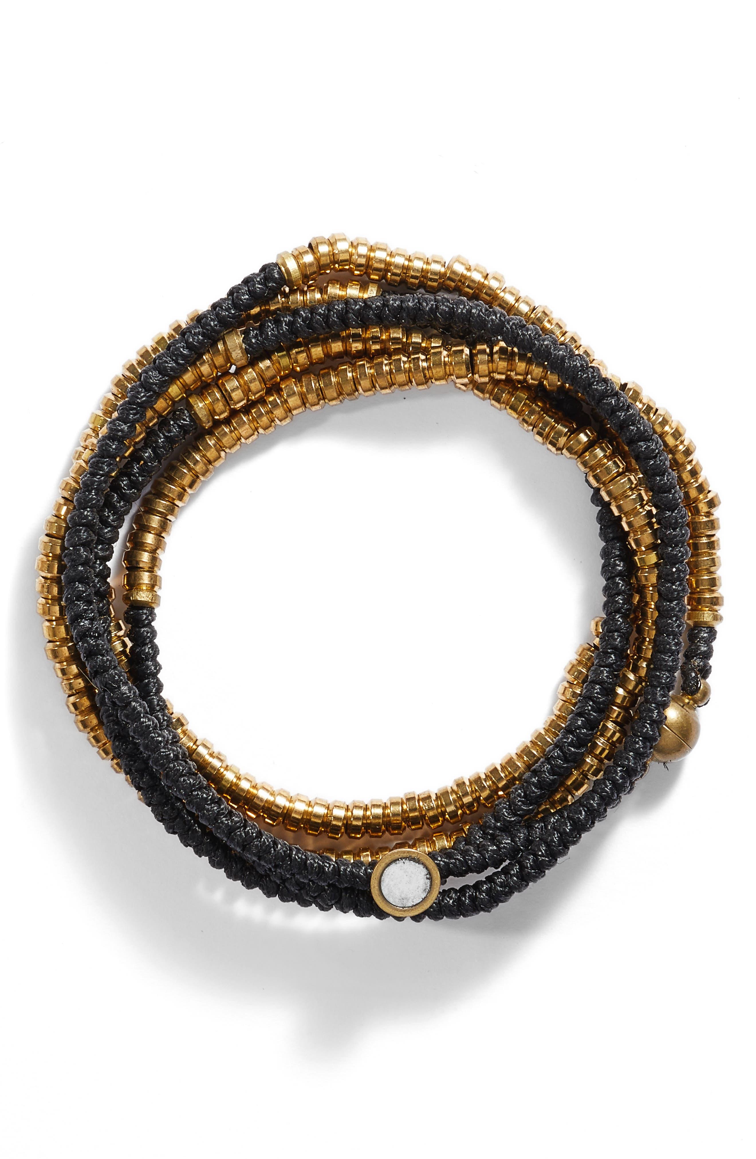 Beaded Wrap Bracelet,                         Main,                         color, 001