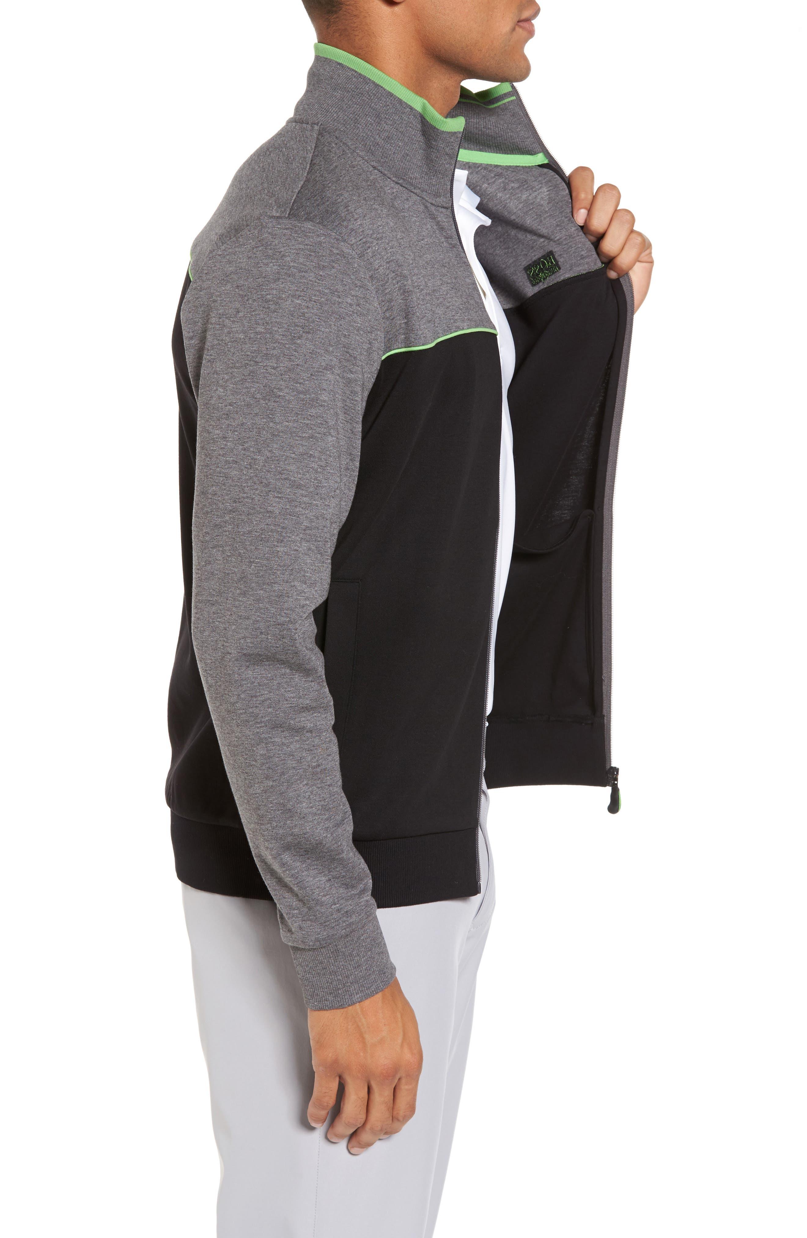 BOSS GREEN,                             Skaz Full Zip Fleece Jacket,                             Alternate thumbnail 3, color,                             001