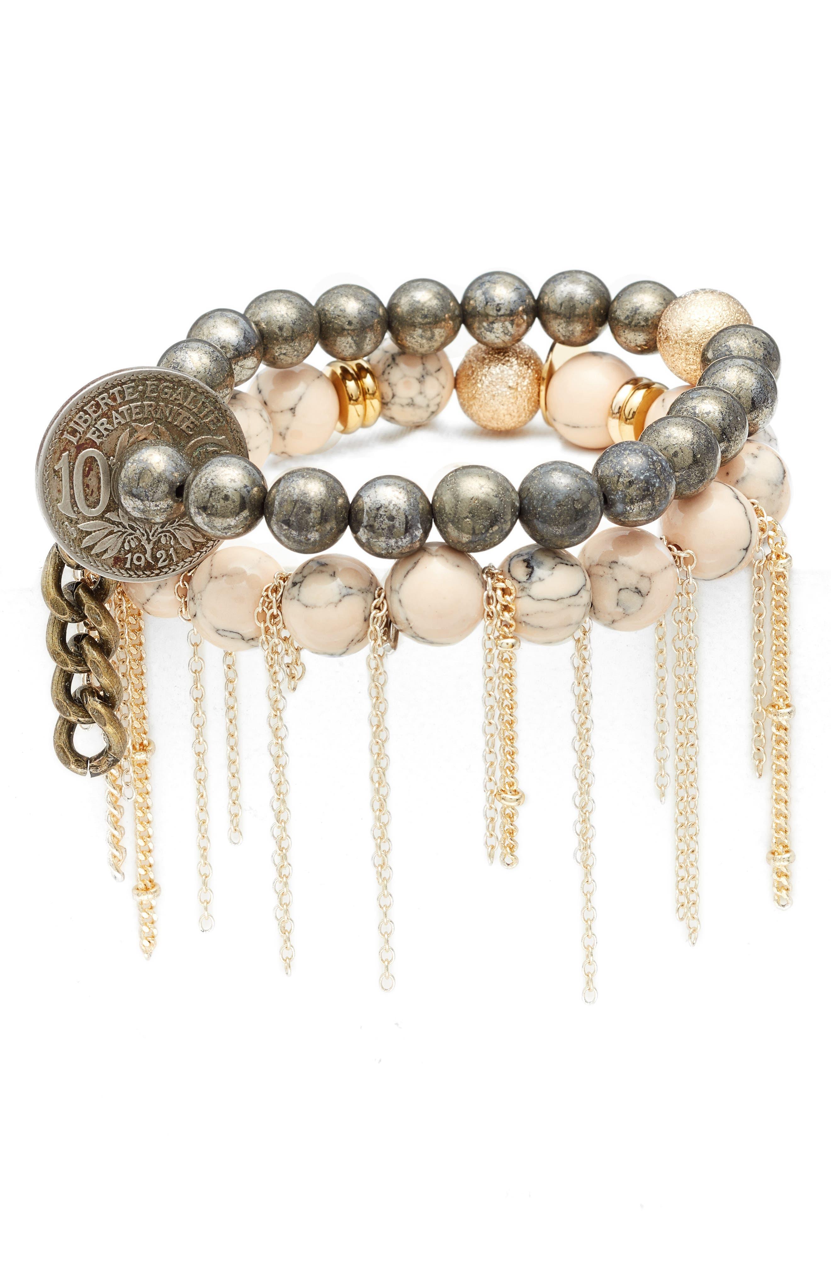 THE LACE PROJECT Set of 2 Bead Stretch Bracelets, Main, color, 100