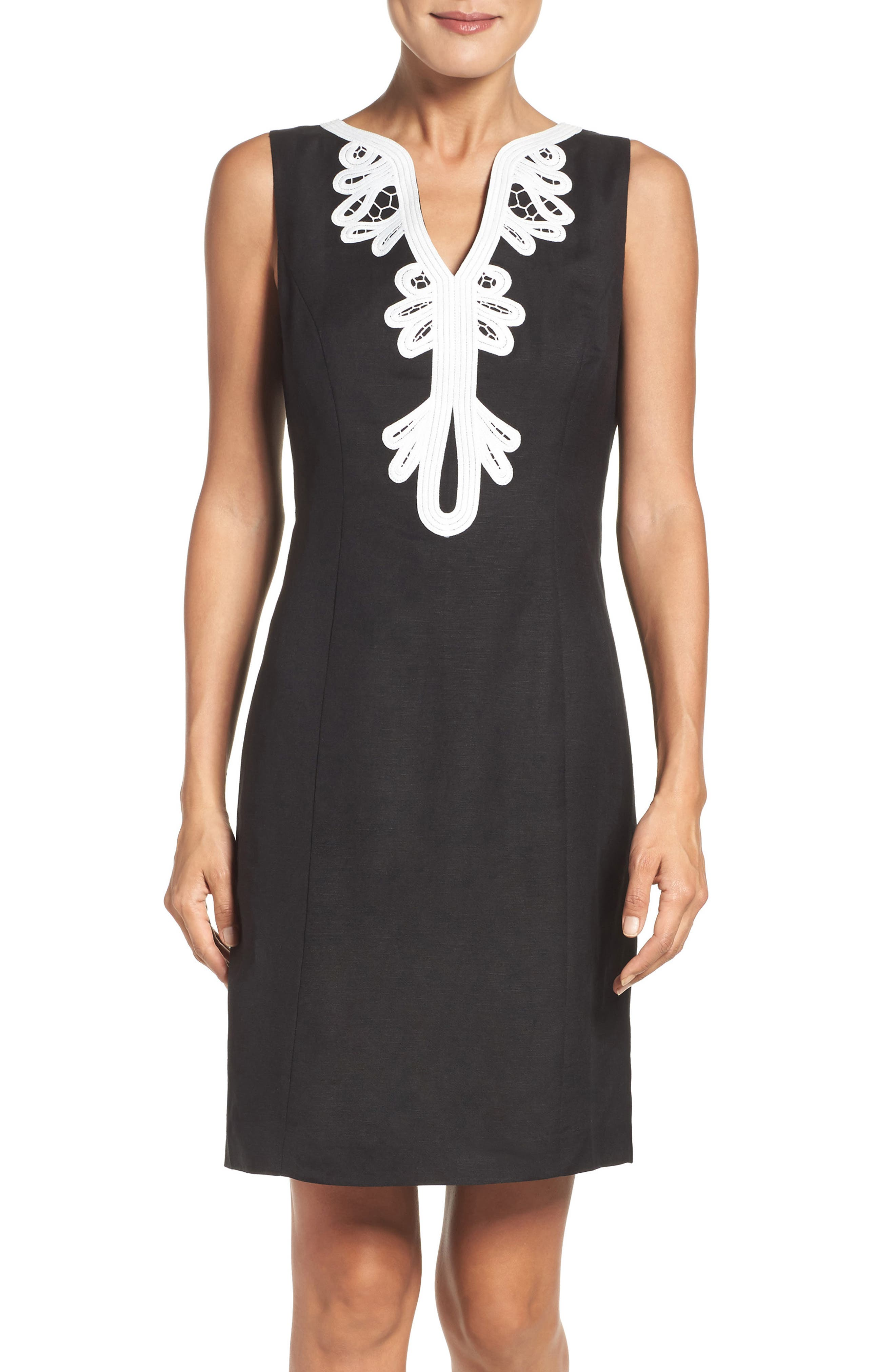 Embroidered Neck Sheath Dress,                             Main thumbnail 1, color,                             001