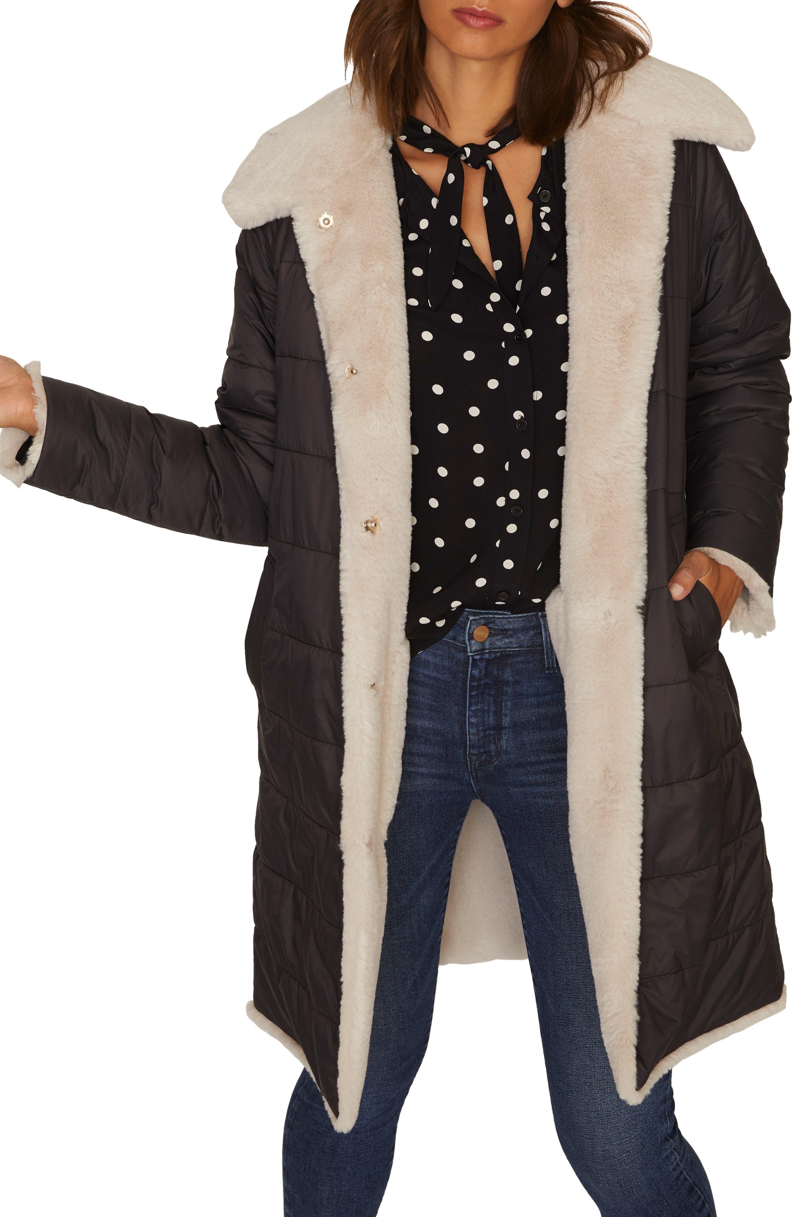 2 Be Real Reversible Puffa Faux Shearling Coat,                             Main thumbnail 1, color,                             001