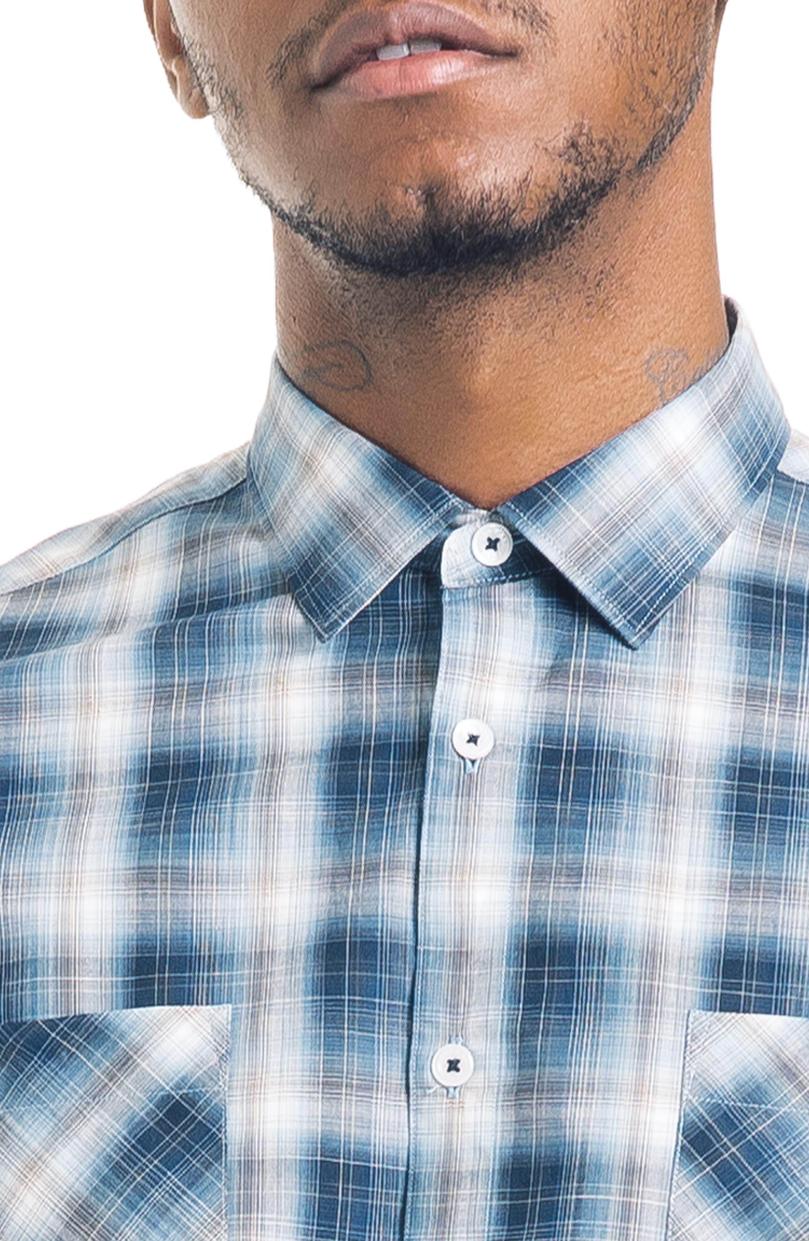 Shadow Slim Fit Plaid Sport Shirt,                             Alternate thumbnail 4, color,                             410