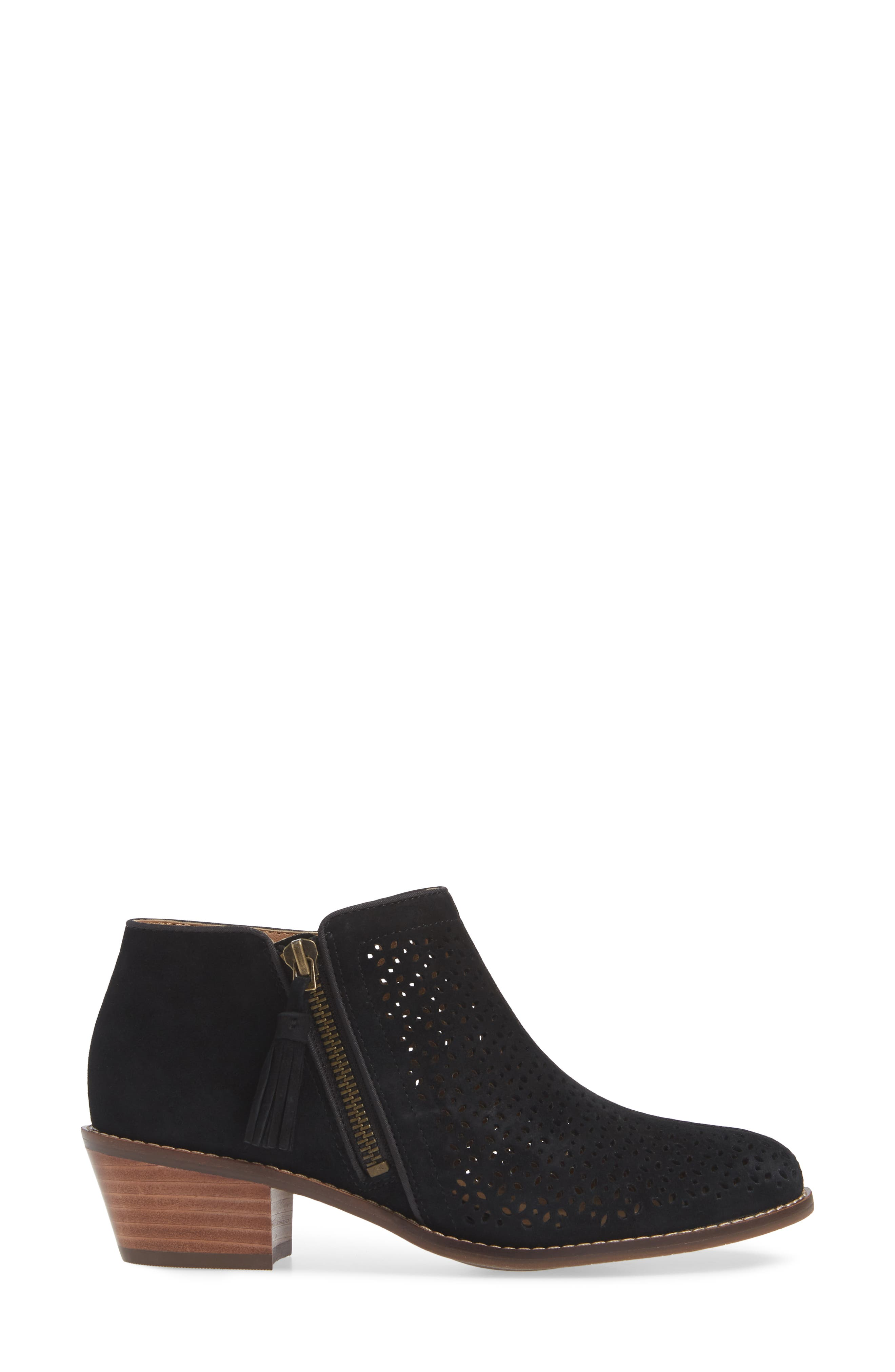 Daytona Perforated Bootie,                             Alternate thumbnail 3, color,                             BLACK SUEDE