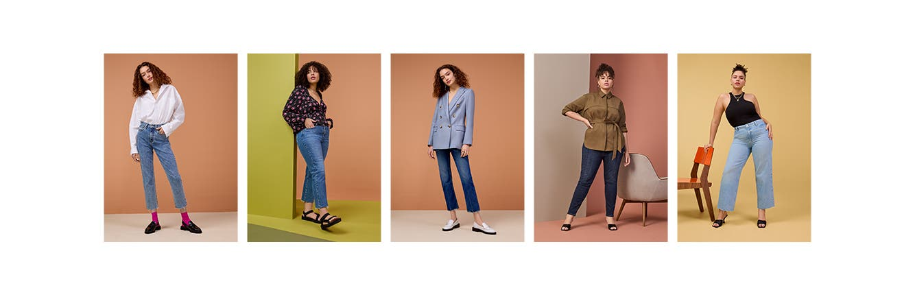 Five women wear jeans in a variety of fits.