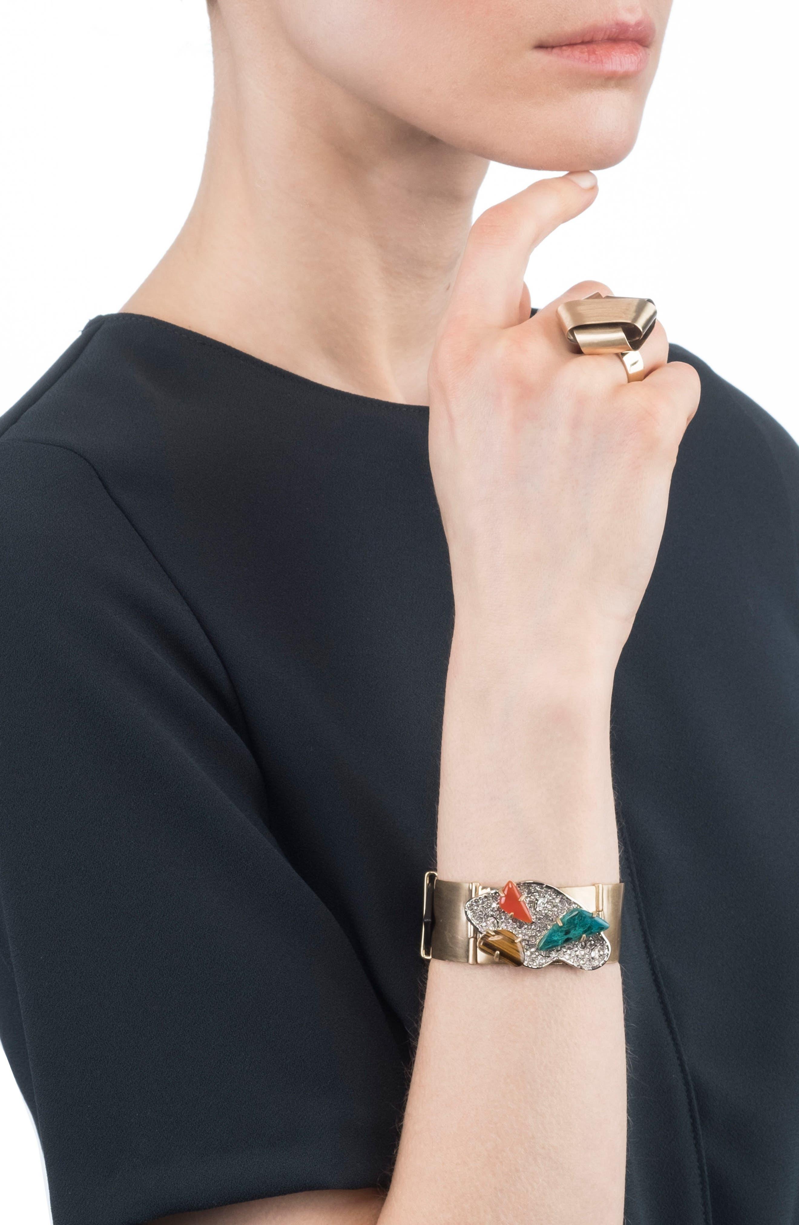 Crystal Encrusted Leather Strap Bracelet,                             Alternate thumbnail 2, color,                             GOLD/ SILVER