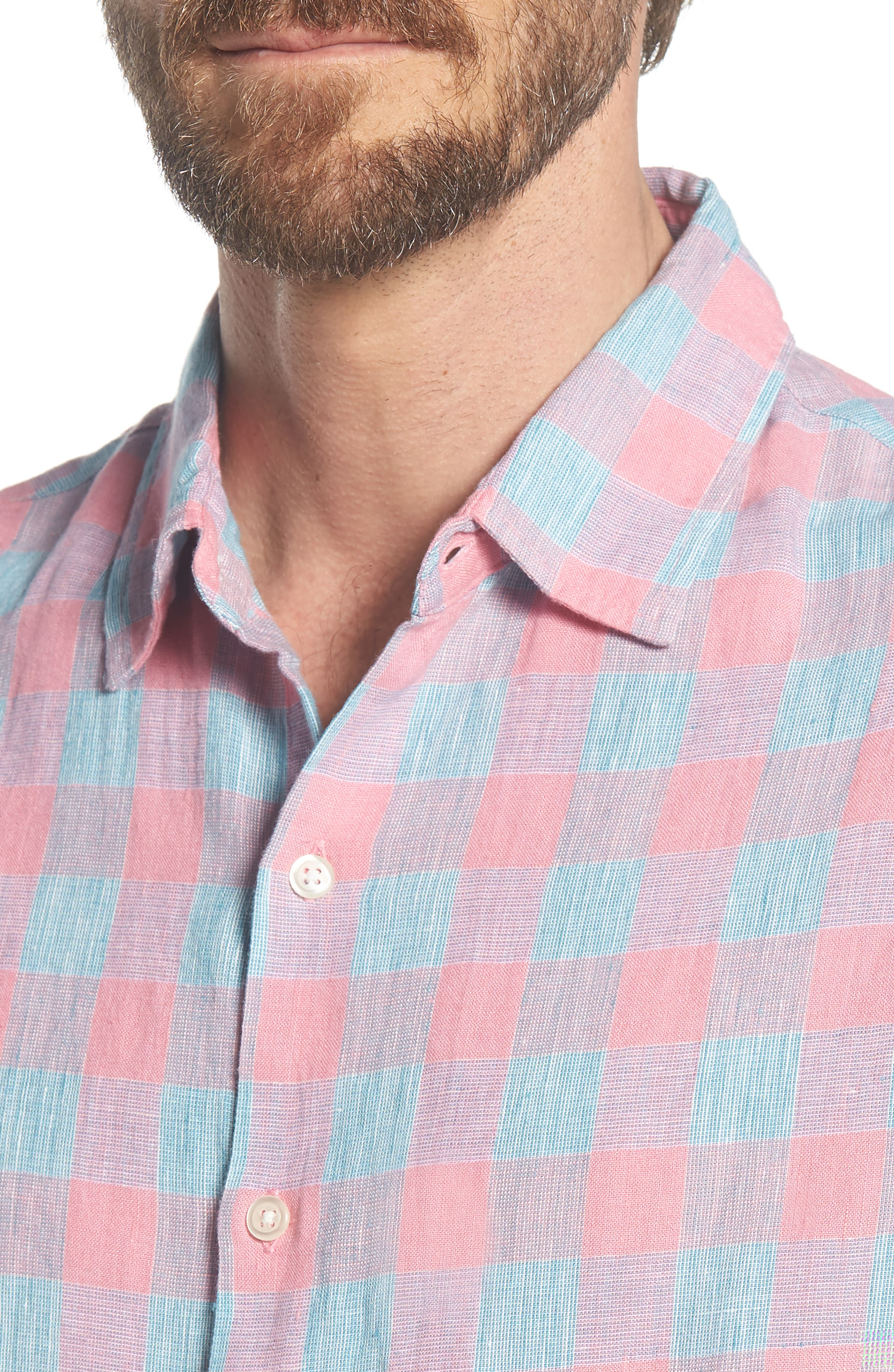 Slim Fit Plaid Linen & Cotton Sport Shirt,                             Alternate thumbnail 4, color,                             650