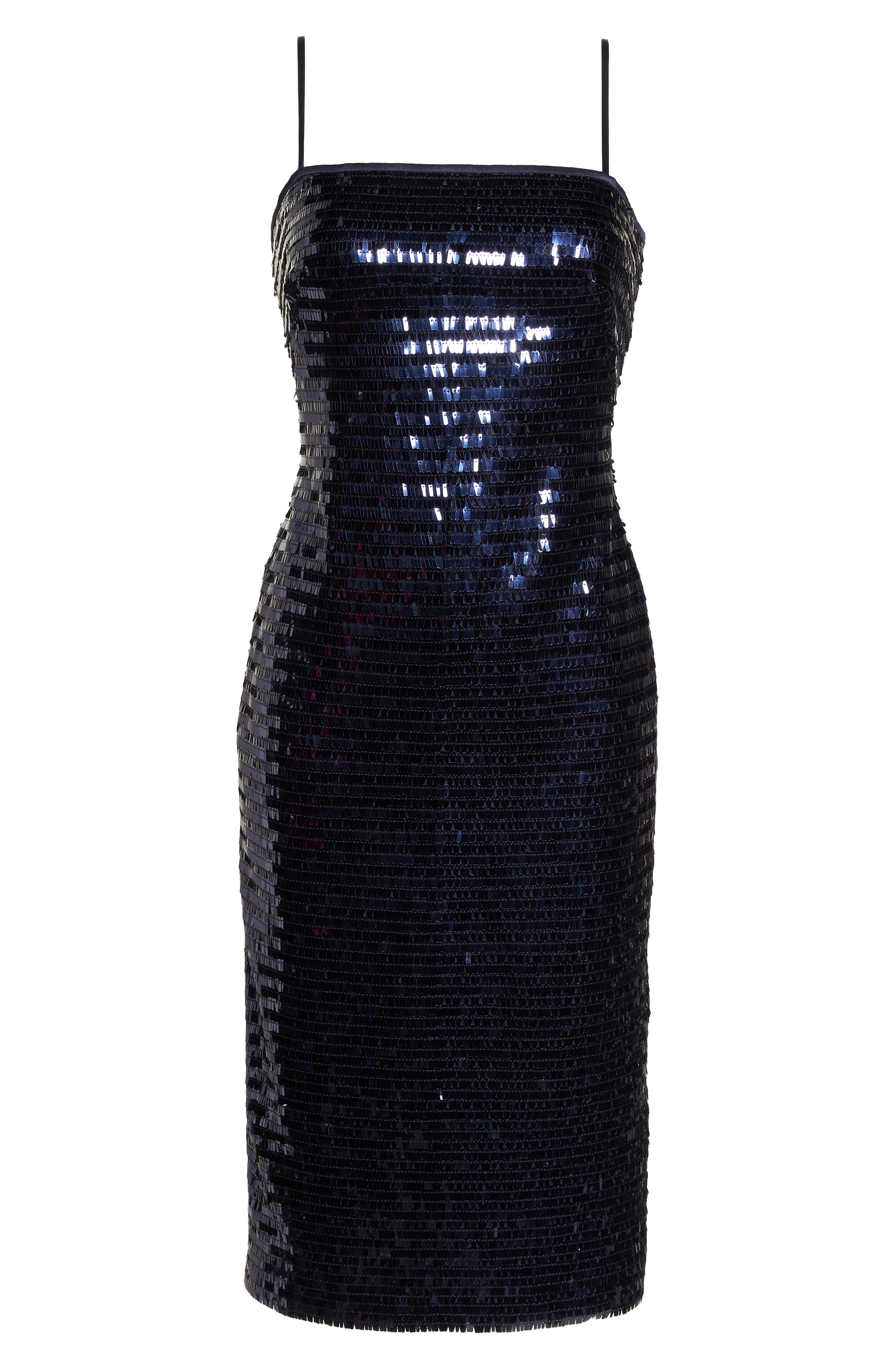 Sequin Sheath Dress,                             Alternate thumbnail 7, color,                             NAVY