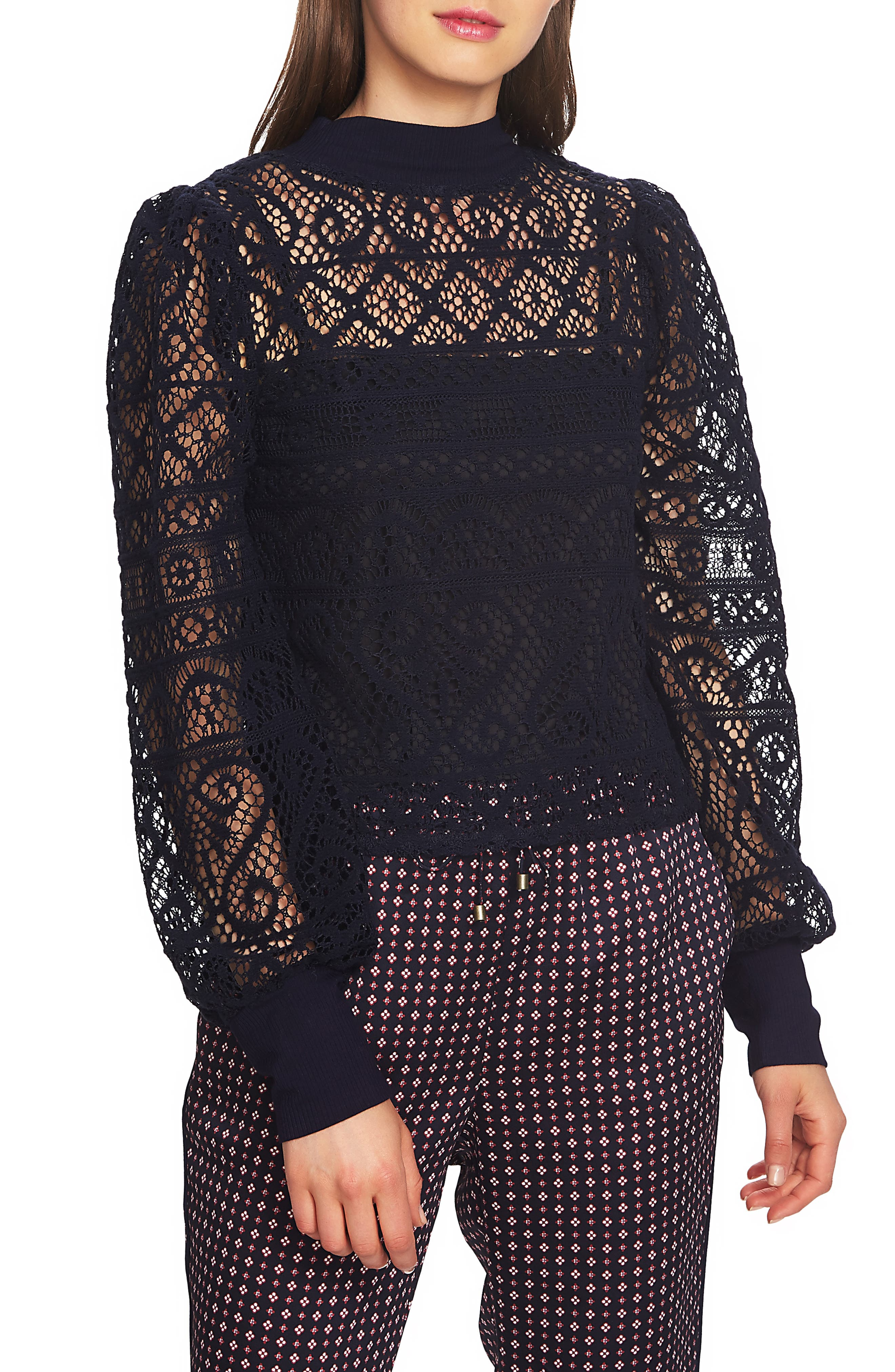 Steampunk Costume Essentials for Women Womens 1.state Lace Detail Crop Top Size X-Large - Blue $53.40 AT vintagedancer.com