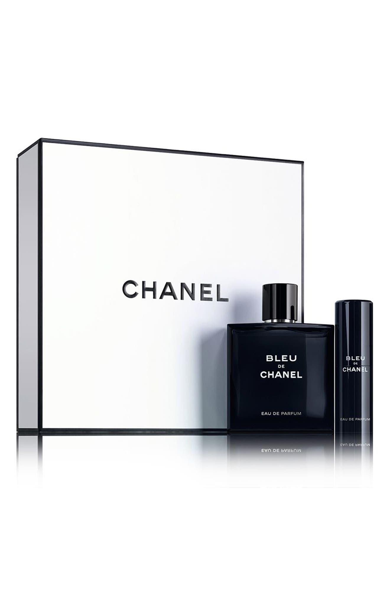 BLEU DE CHANEL<br />Eau de Parfum pour Homme Travel Spray Set,                             Main thumbnail 1, color,                             NO COLOR